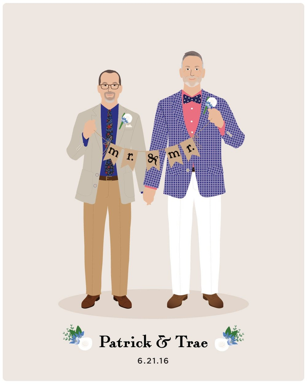 Custom Illustration Couple Portrait Mr and Mr Wedding Announcement by Henry James Paper Goods