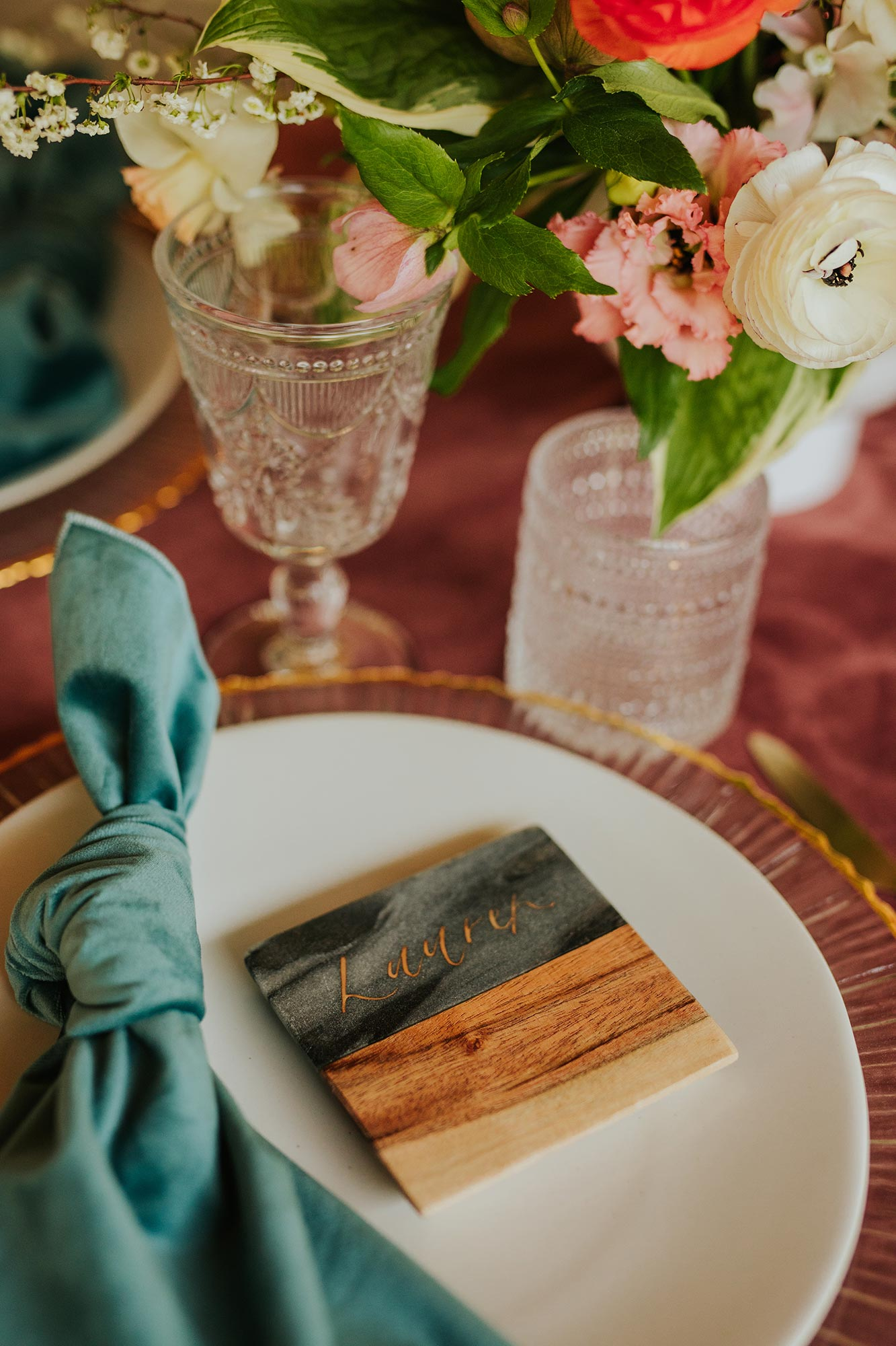 Lush wedding inspiration at Seven Springs VA with velvet table and wooden place cards Carly Romeo & Co.