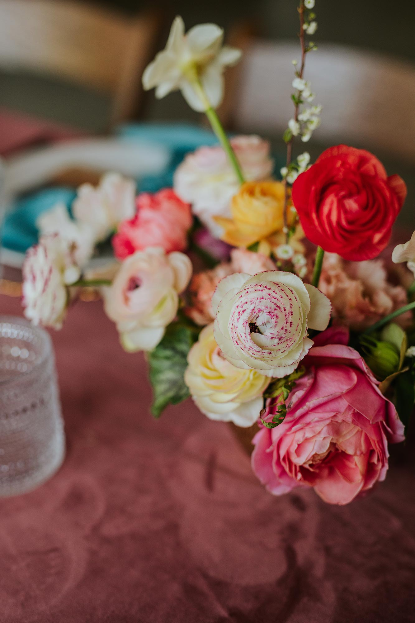 Lush wedding inspiration at Seven Springs VA with pink and teal velvet table setting Carly Romeo & Co.