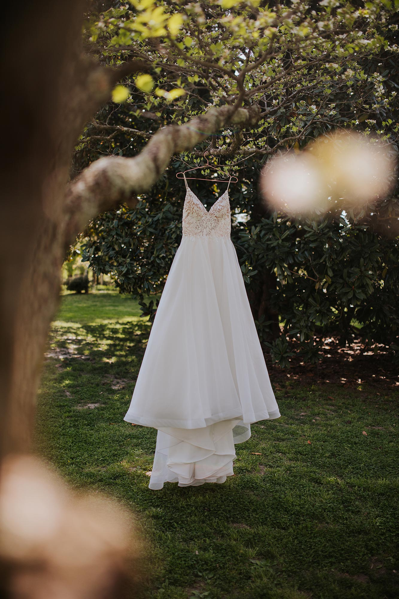 Lush wedding inspiration at Seven Springs VA with wedding dress hanging from a tree Carly Romeo & Co.