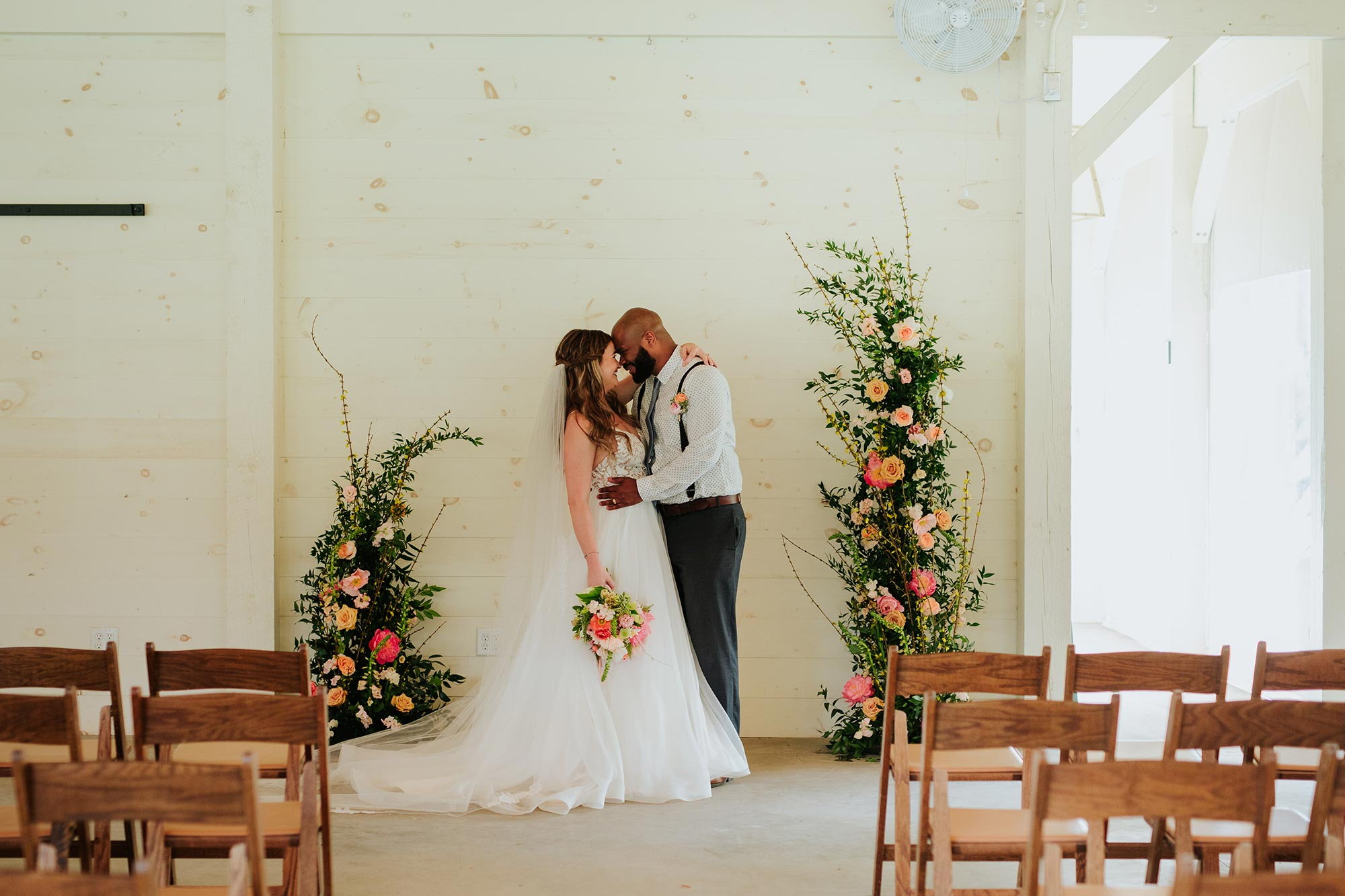 Lush wedding inspiration at Seven Springs VA with bride and groom during ceremony Carly Romeo & Co.