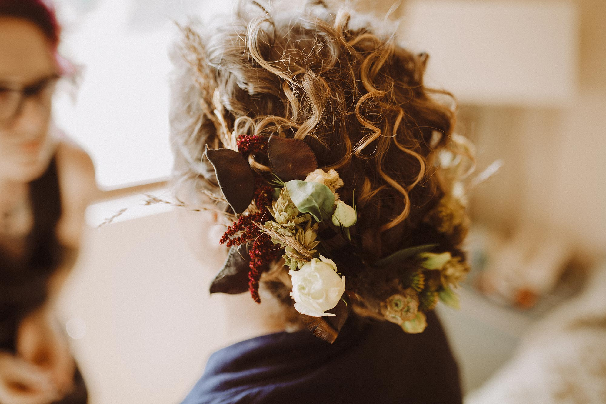 DIY summer camp wedding spring green wisconsin heidi uhlman photography alex's styled hair with floral wreath