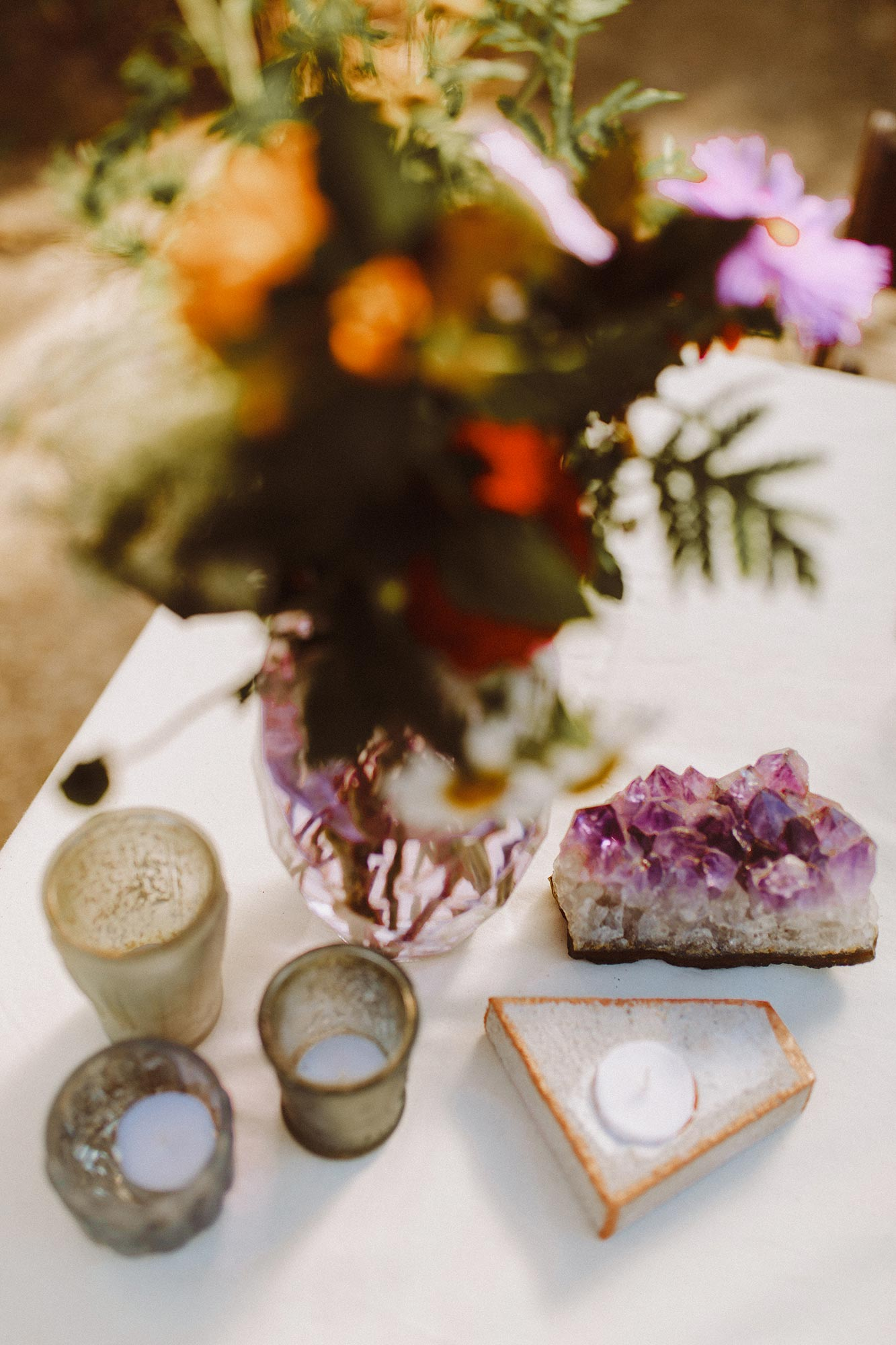 DIY summer camp wedding spring green wisconsin heidi uhlman photography geodes, candles, and flowers