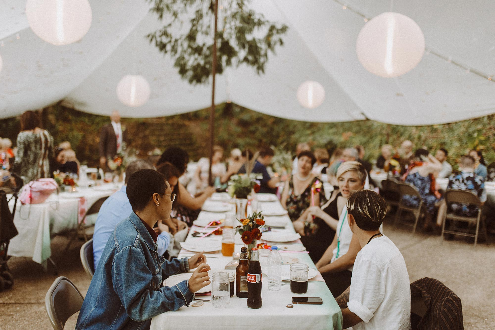 DIY summer camp wedding spring green wisconsin heidi uhlman photography guests at tables