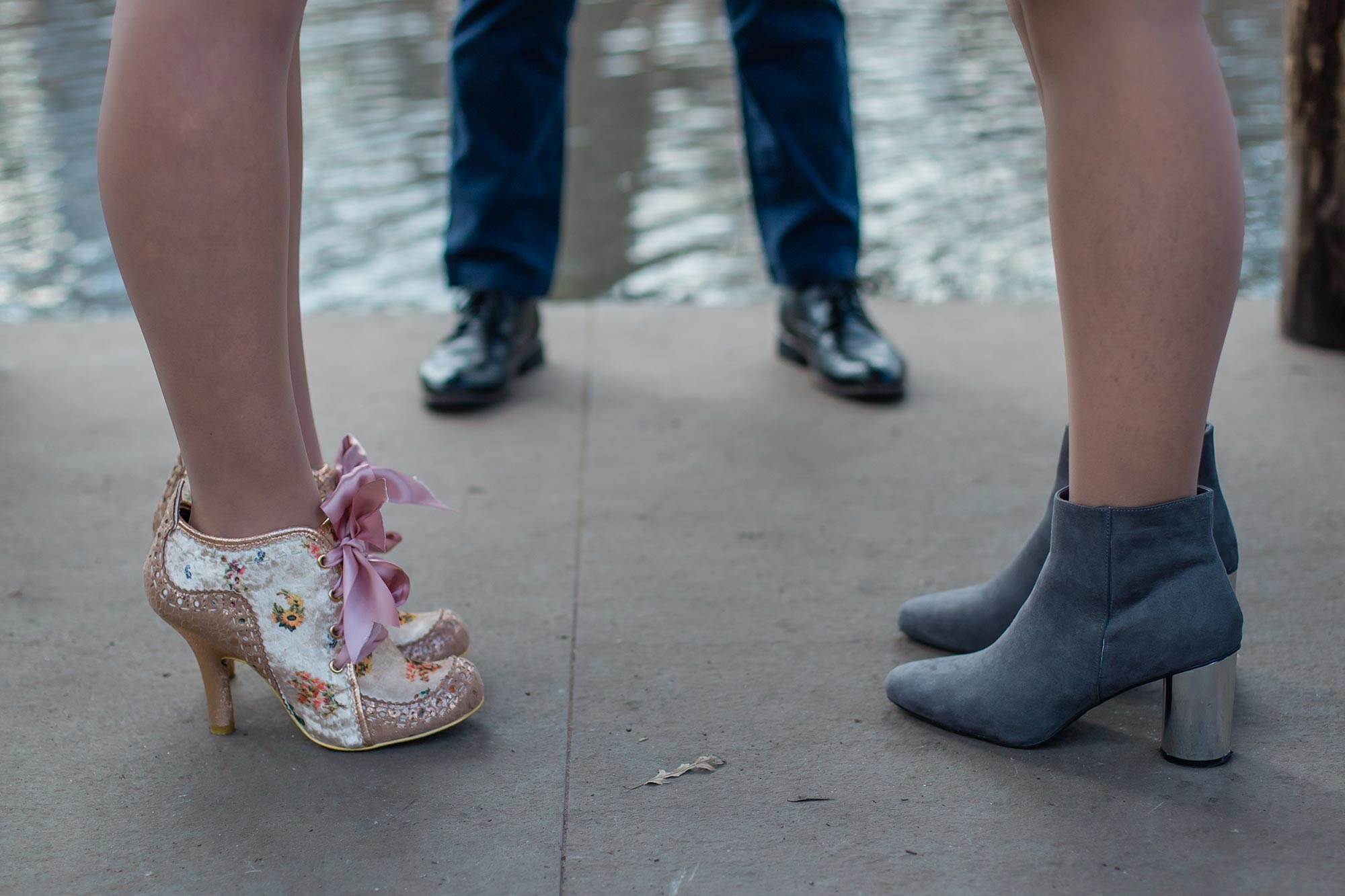 queer irish central park winter elopement kate alison photography kathryn and mary's shoes during ceremony