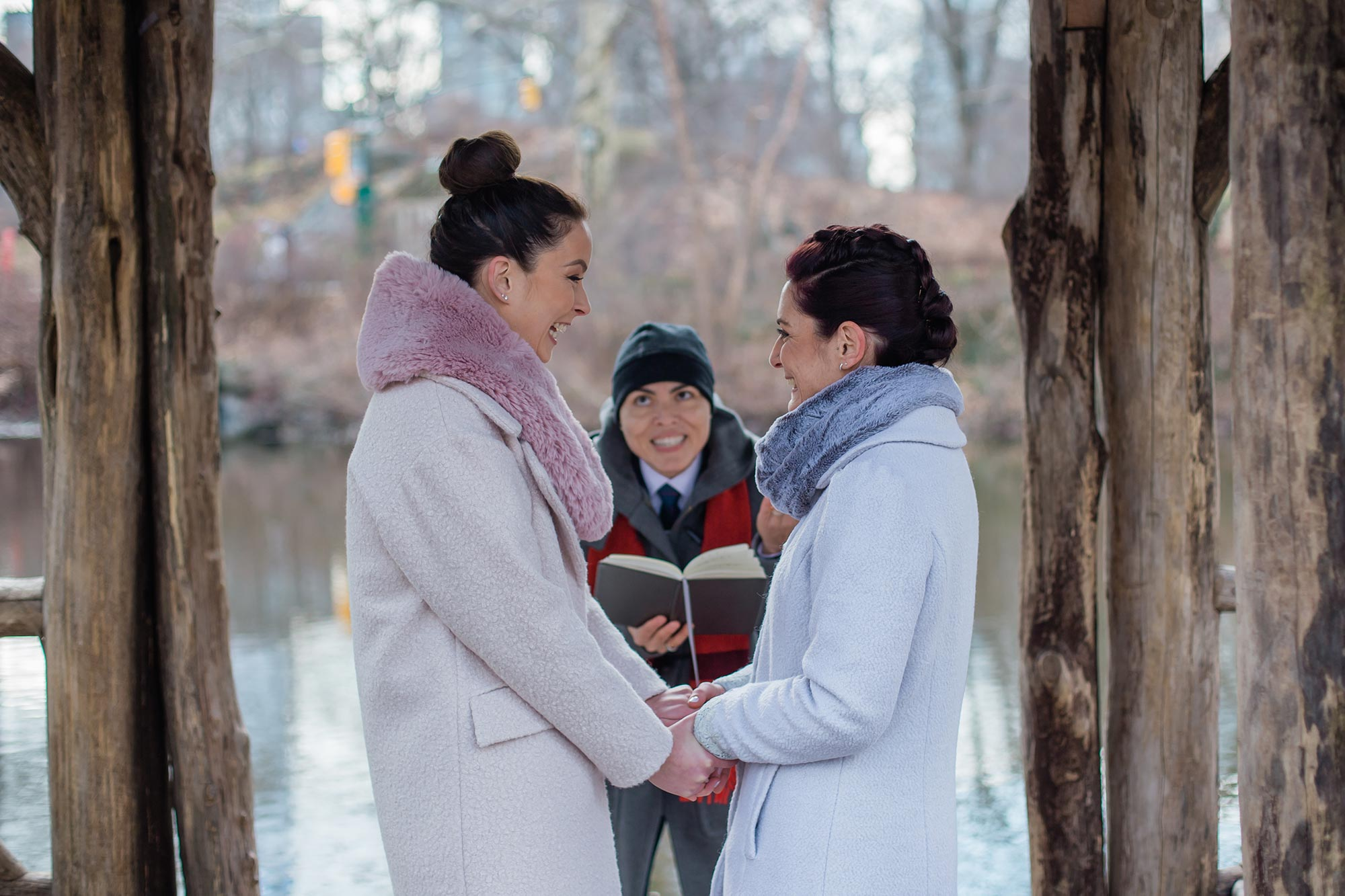 queer irish central park winter elopement kate alison photography couple smiling excitedly ceremony