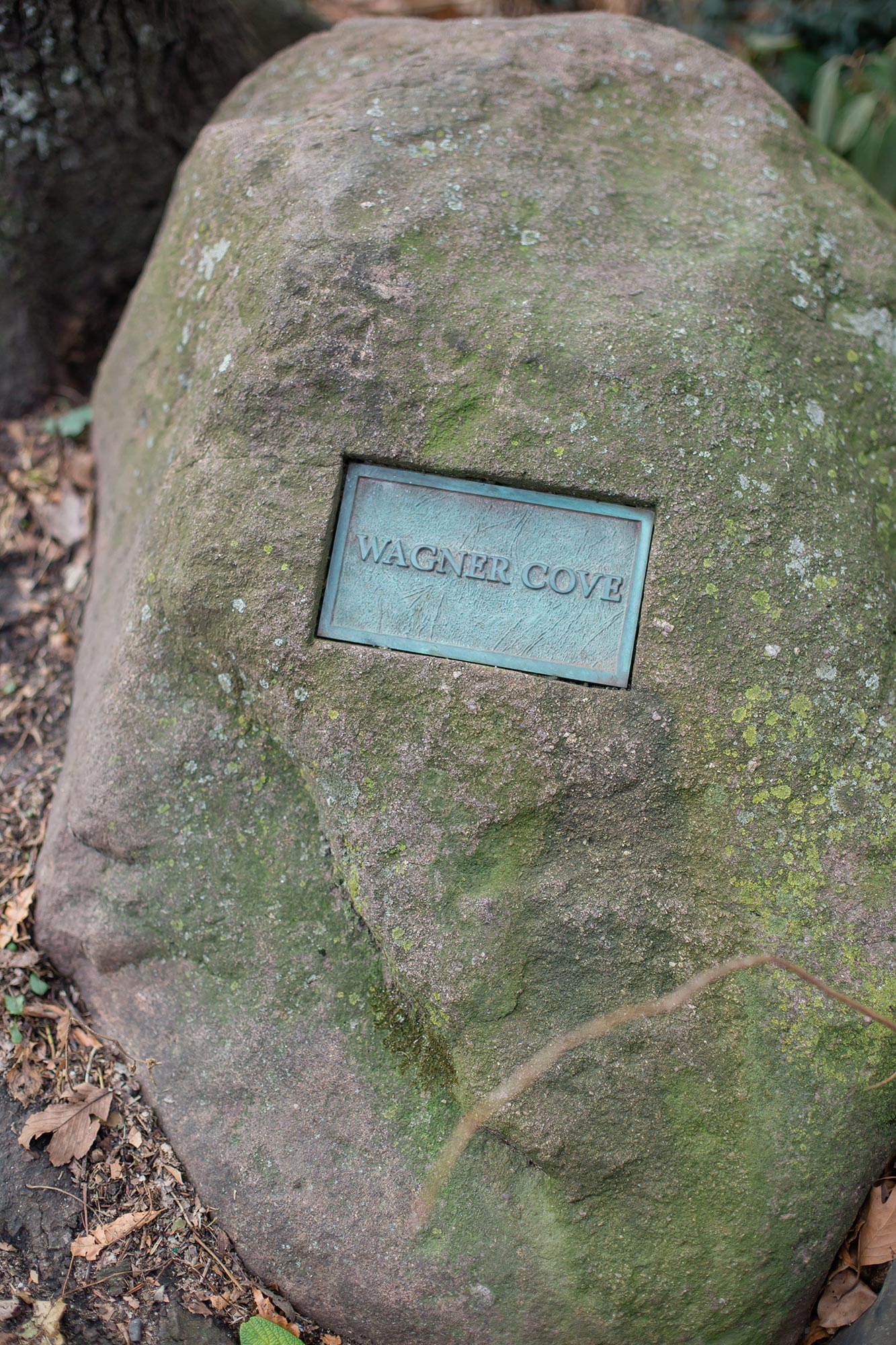 """queer irish central park winter elopement kate alison photography rock with inlaid plaque reading """"Wagner Cove"""""""