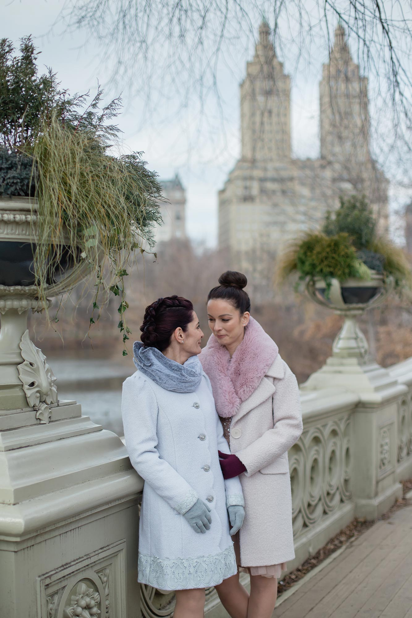 queer irish central park winter elopement kate alison photography couple on bridge over lake