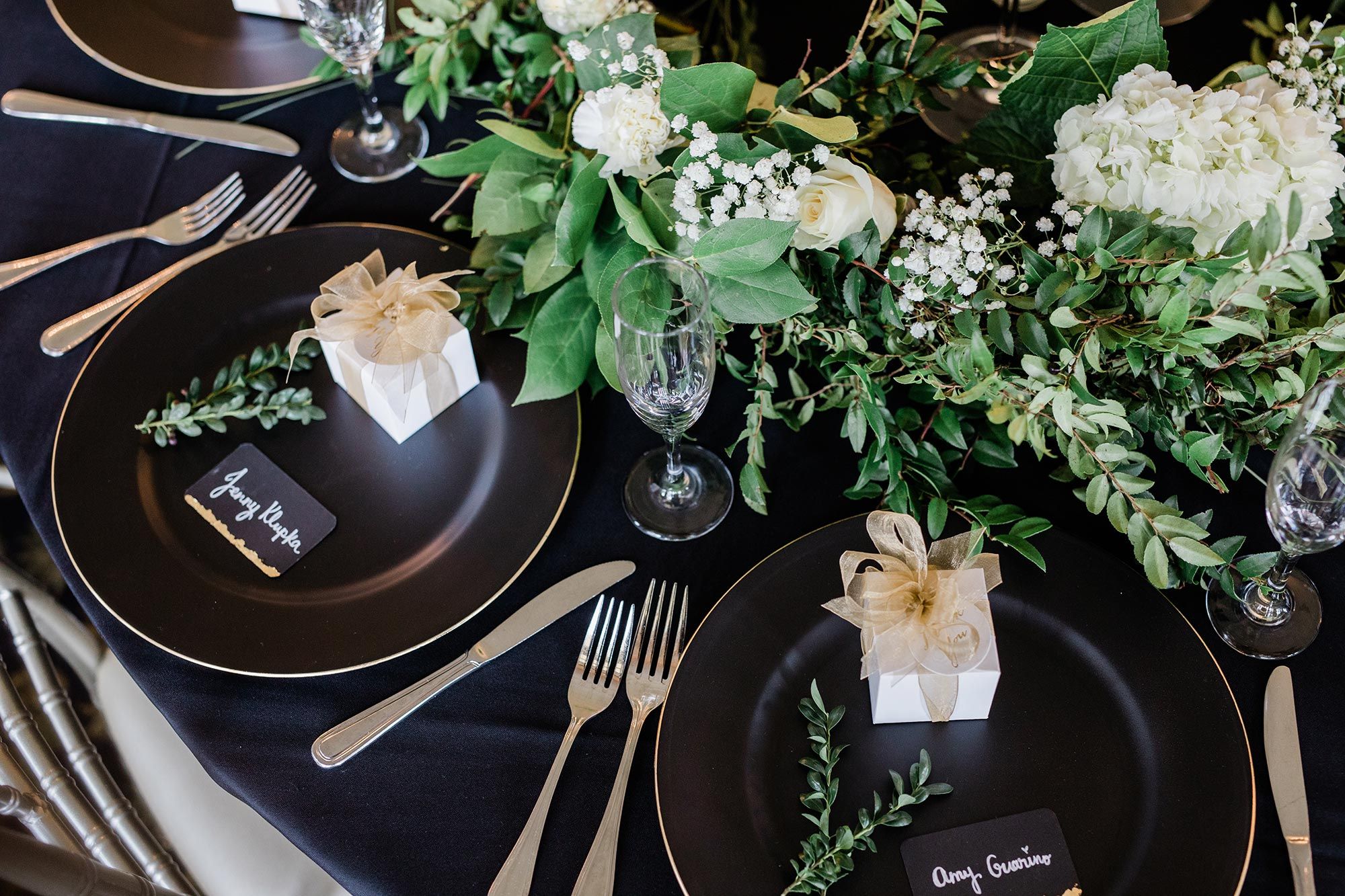 Chic Queer Wedding in West Chester Pennsylvania showing guest place settings Judson Rappaport Photography