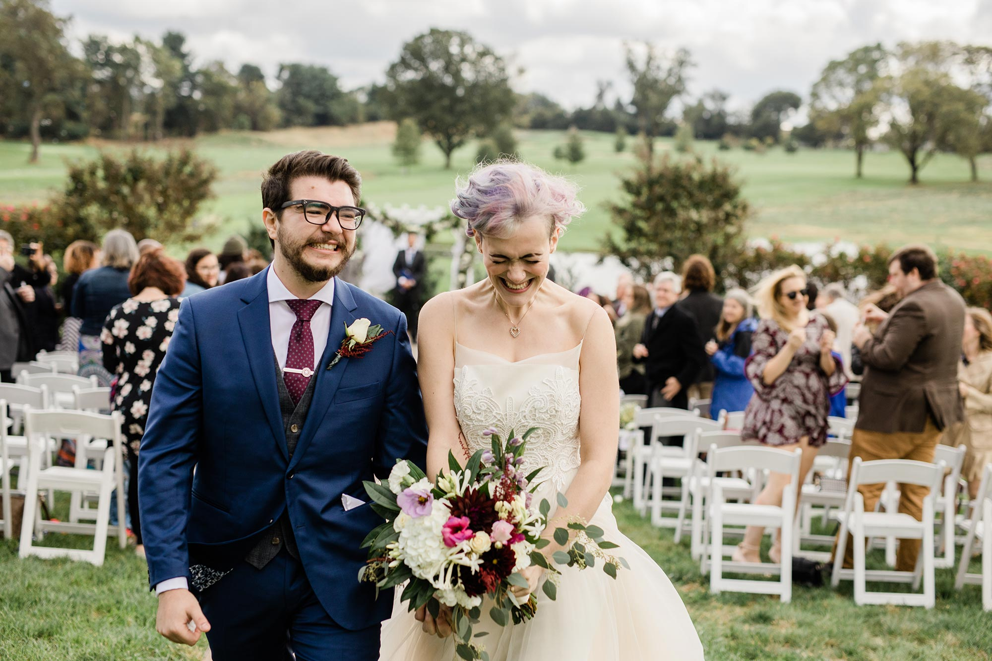 Chic Queer Wedding in West Chester Pennsylvania showing couple smiling after ceremony Judson Rappaport Photography