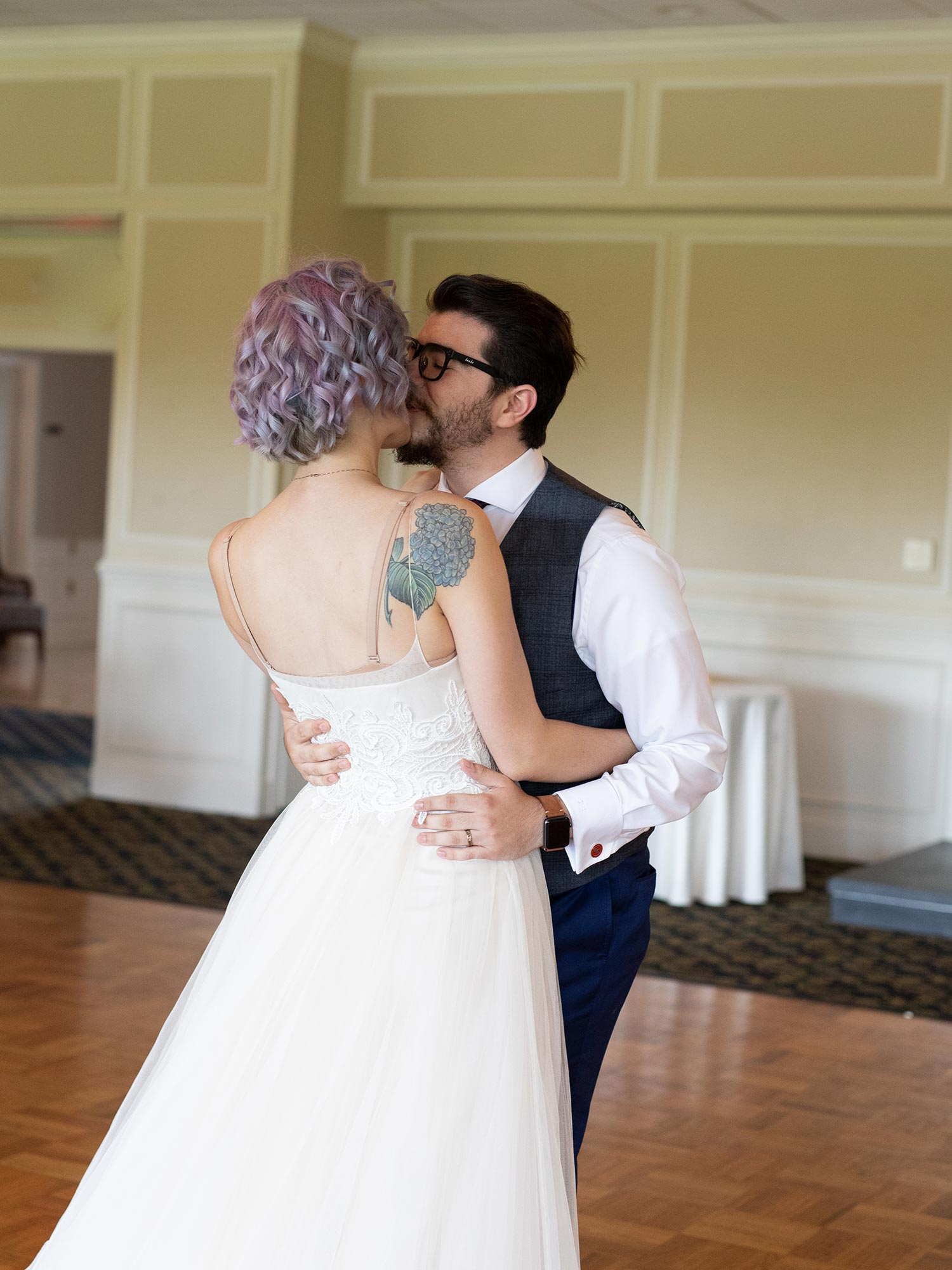 Chic Queer Wedding in West Chester Pennsylvania showing couple during first dance Judson Rappaport Photography