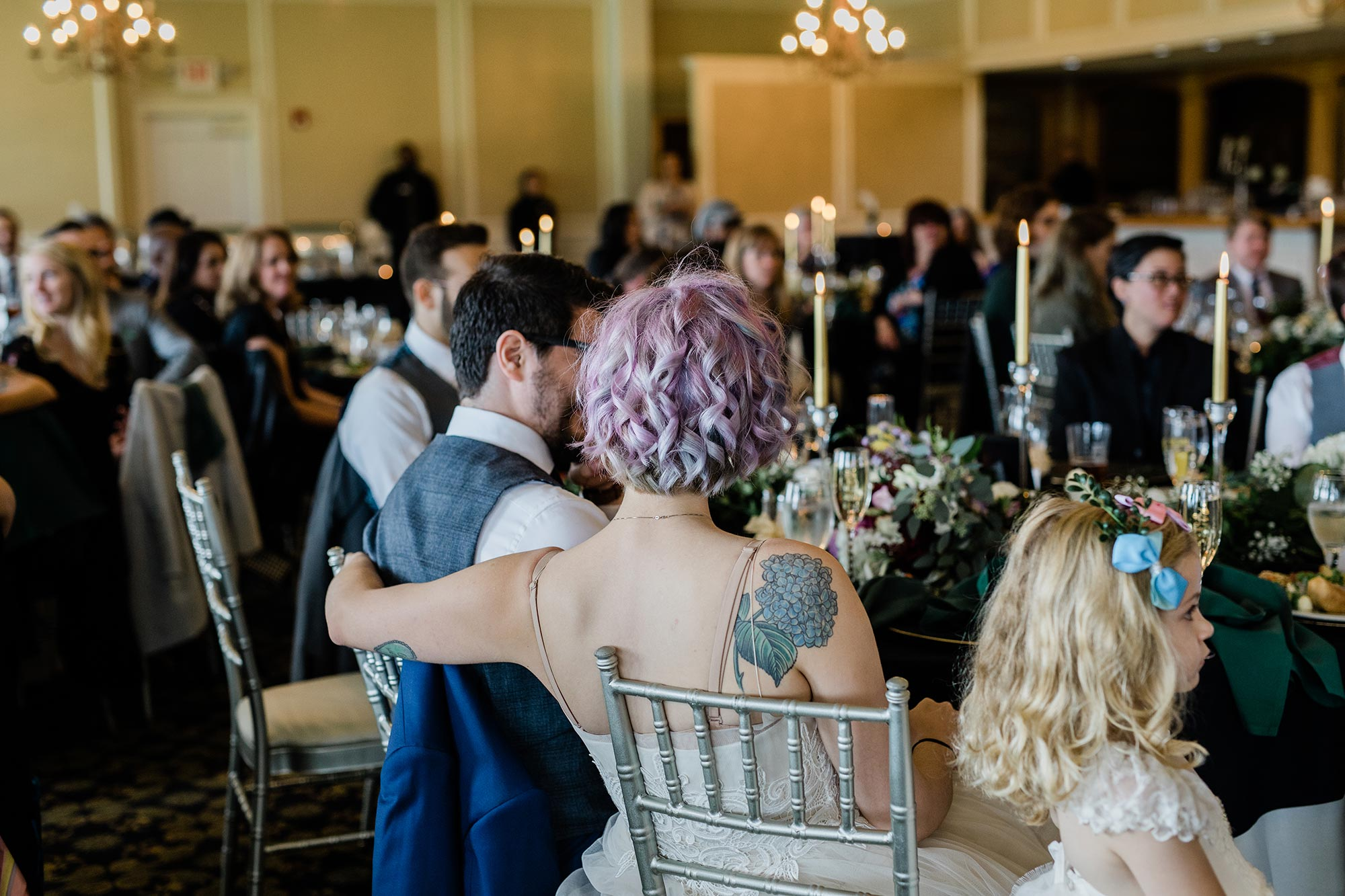 Chic Queer Wedding in West Chester Pennsylvania showing couple during reception Judson Rappaport Photography