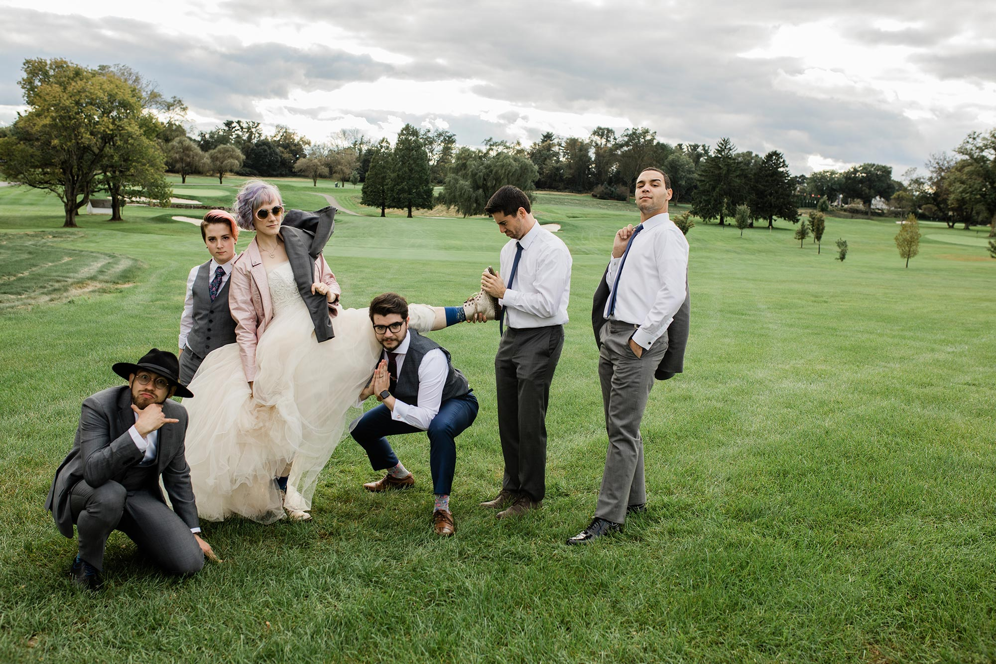 Chic Queer Wedding in West Chester Pennsylvania showing couple with wedding party Judson Rappaport Photography