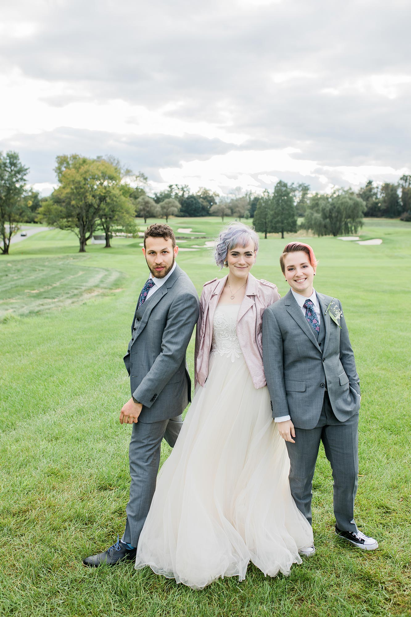 Chic Queer Wedding in West Chester Pennsylvania showing Sara with wedding party Judson Rappaport Photography