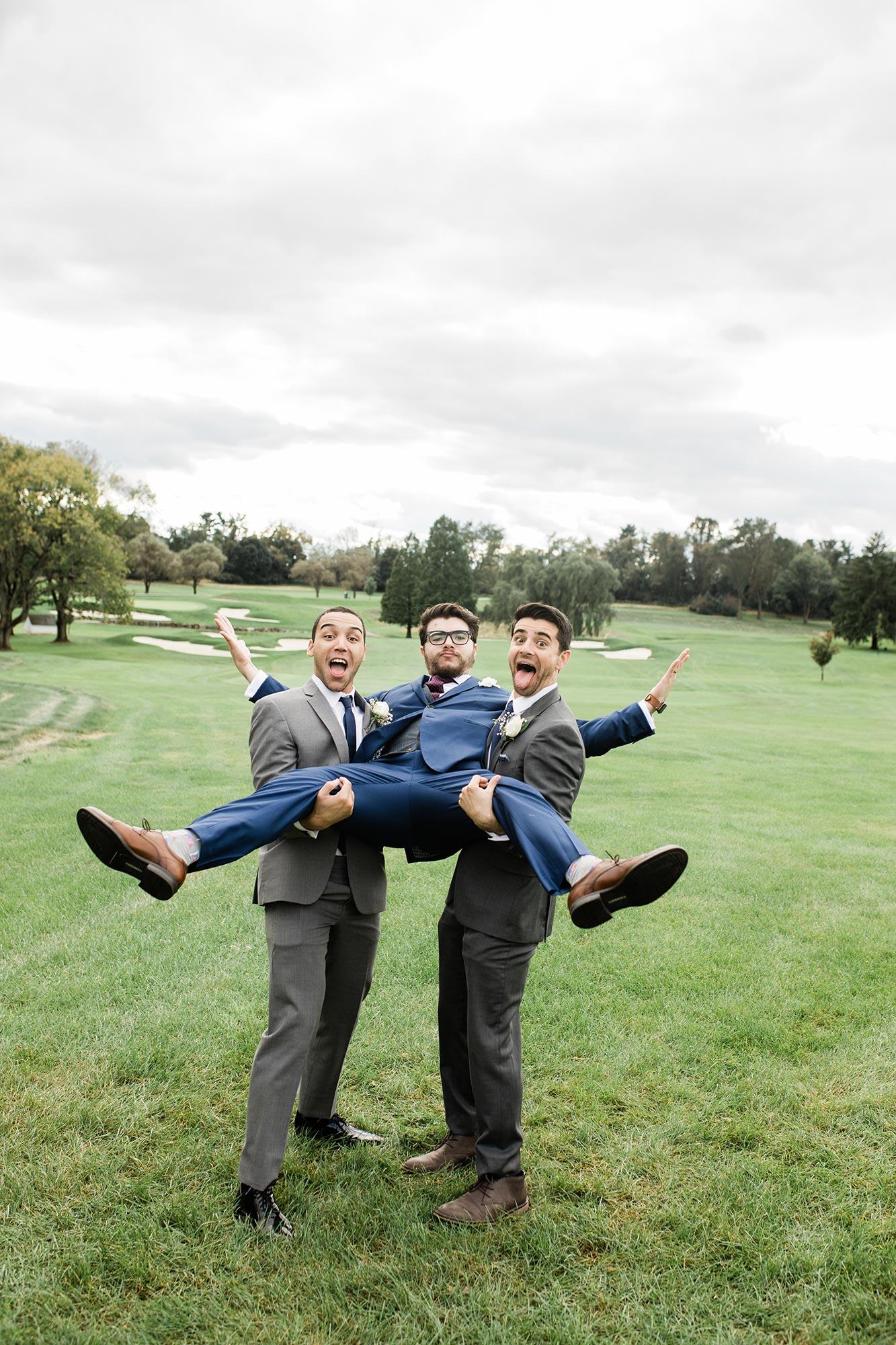 Chic Queer Wedding in West Chester Pennsylvania showing David with wedding party Judson Rappaport Photography