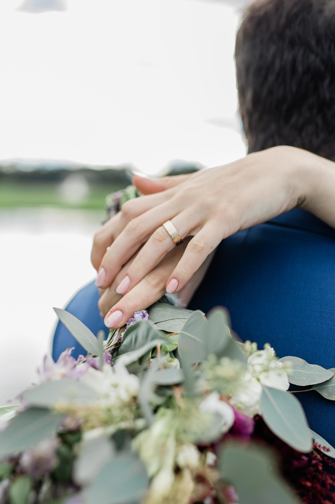 Chic Queer Wedding in West Chester Pennsylvania showing Sara's ring and bouquet Judson Rappaport Photography