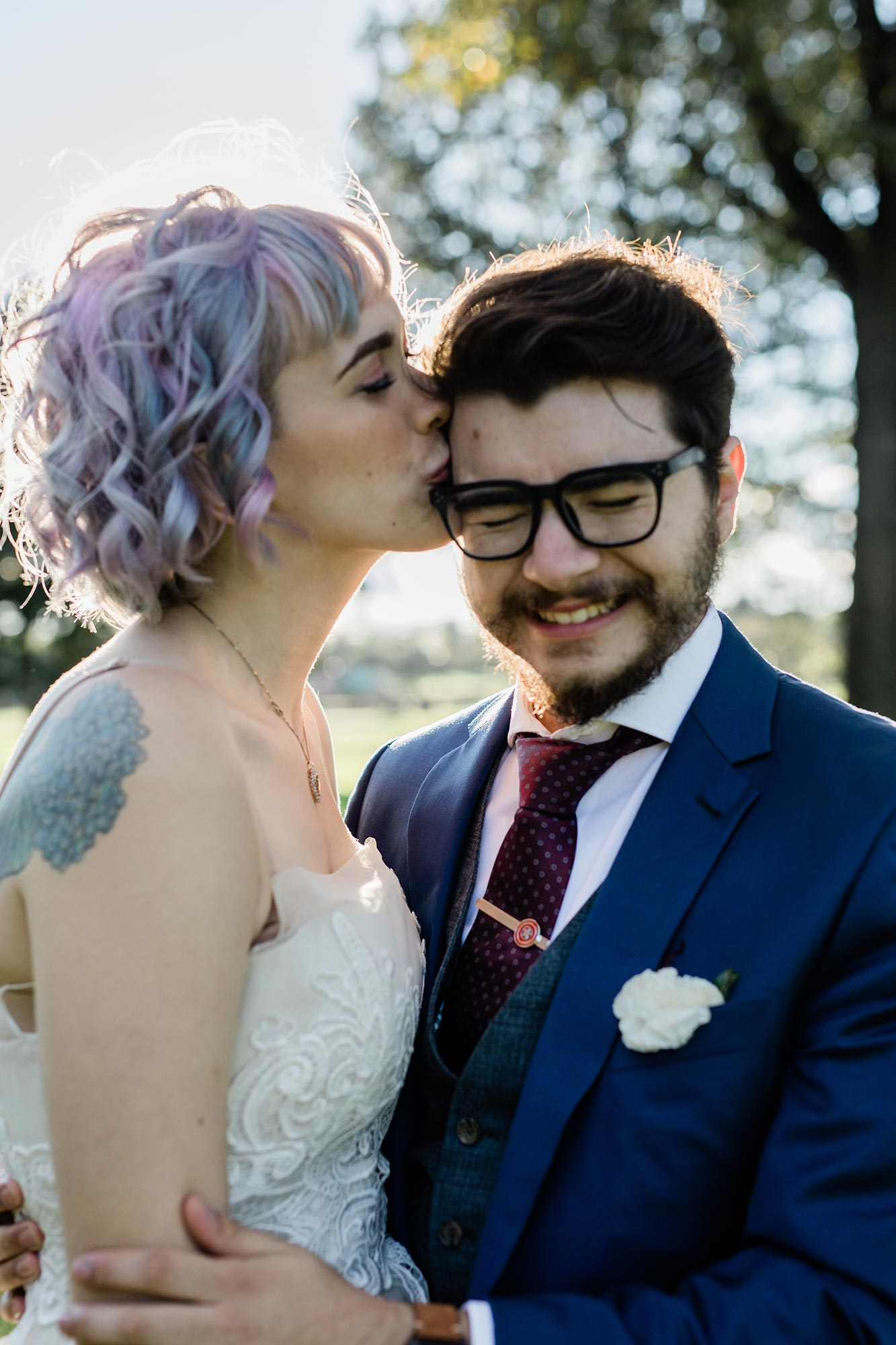 Chic Queer Wedding in West Chester Pennsylvania showing portrait of couple Judson Rappaport Photography