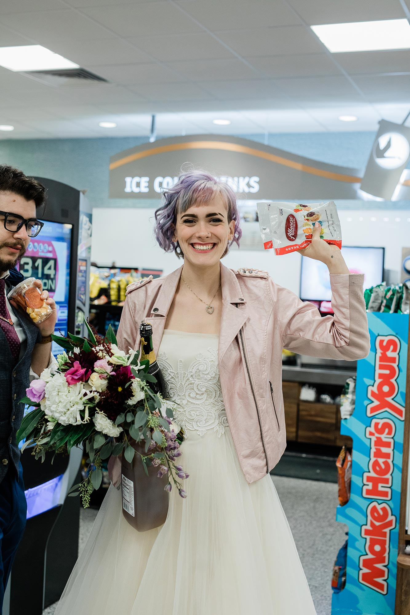 Chic Queer Wedding in West Chester Pennsylvania showing Sara shopping at Wawa Judson Rappaport Photography