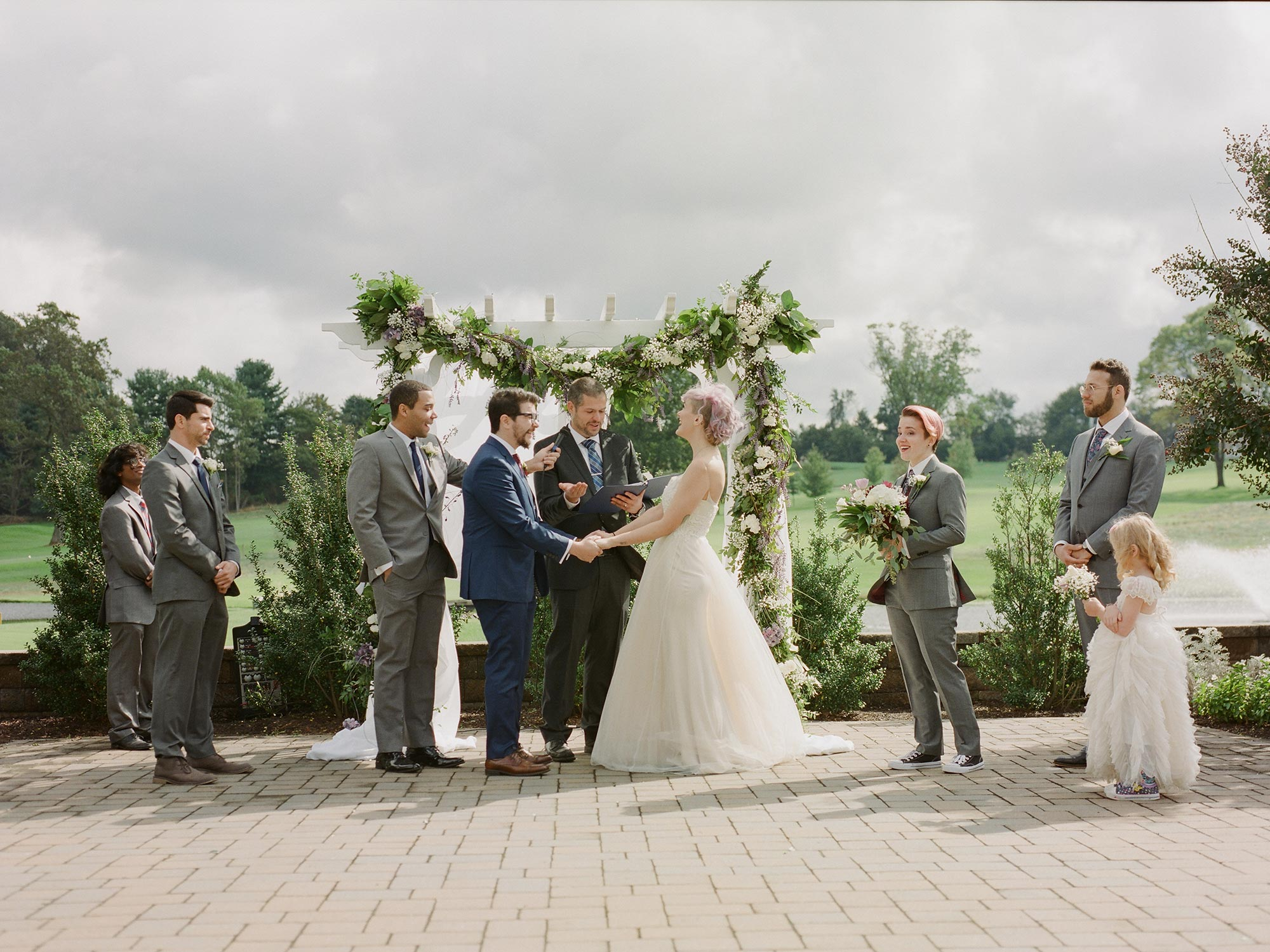Chic Queer Wedding in West Chester Pennsylvania showing ceremony Judson Rappaport Photography
