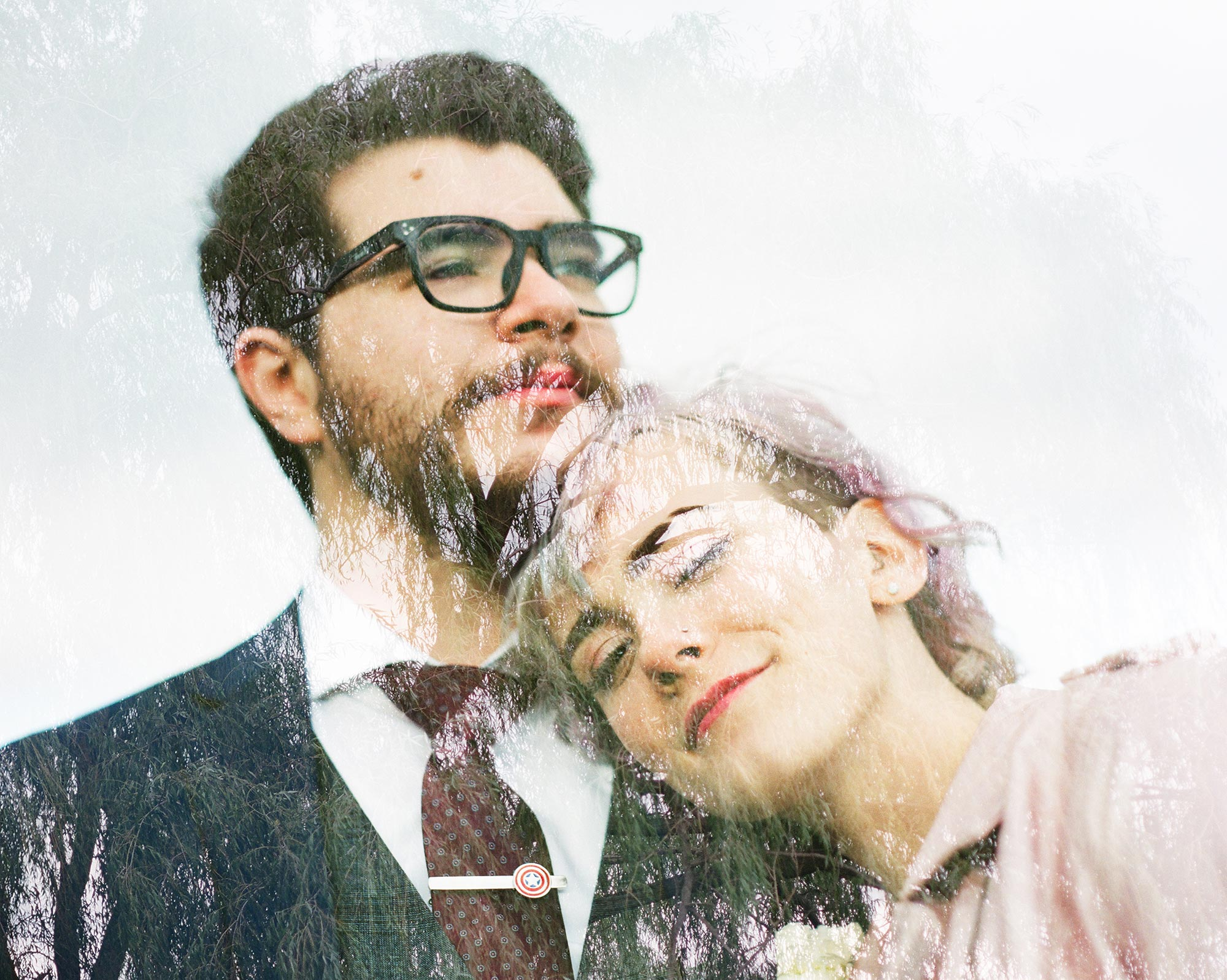 Chic Queer Wedding in West Chester Pennsylvania showing double exposure portrait of couple Judson Rappaport Photography