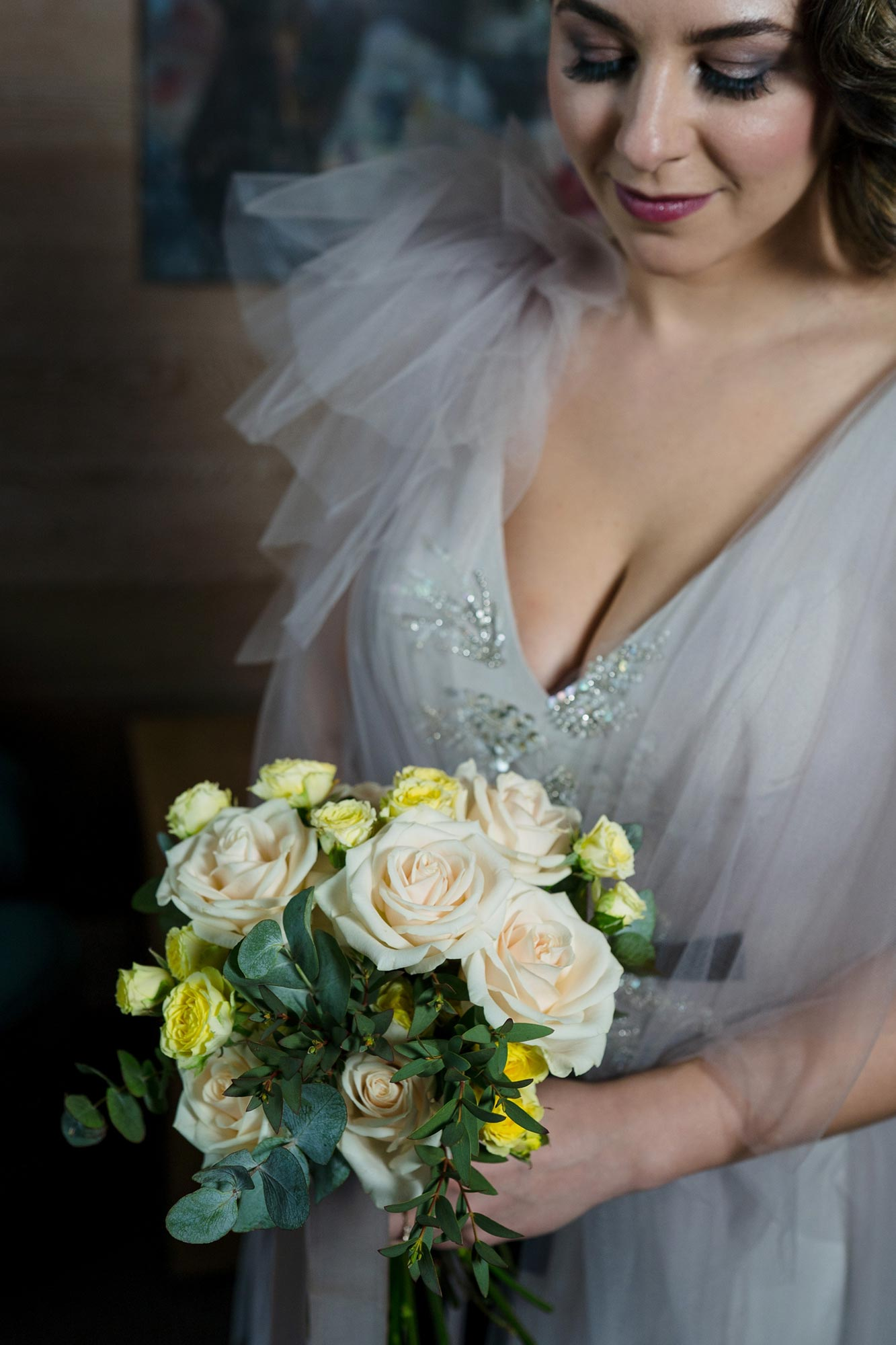Bright Neon Wedding Inspiration at The Bowery Hotel NYC showing gray wedding dress and flowers JC Lemon Photography