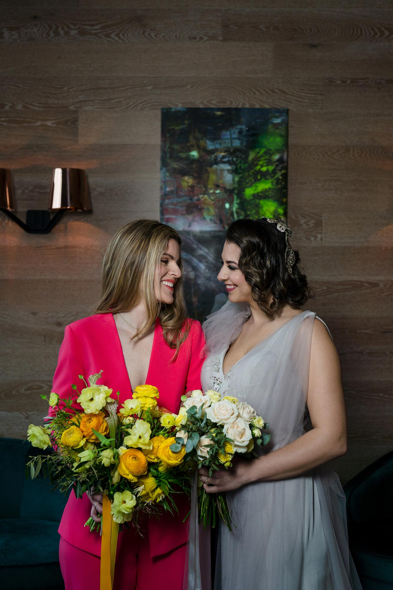 Bright Neon Wedding Inspiration at The Bowery Hotel NYC showing couple holding yellow bouquets JC Lemon Photography