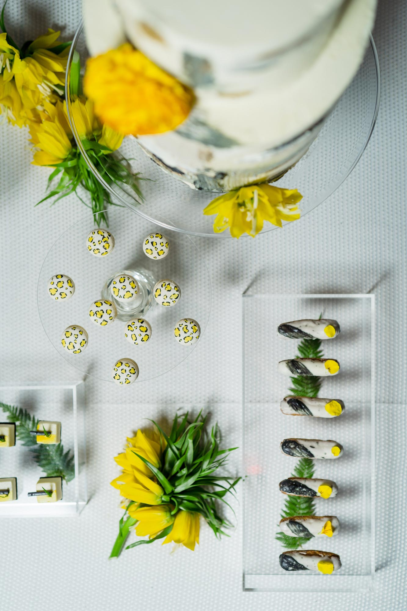 Bright Neon Wedding Inspiration at The Bowery Hotel NYC showing neon yellow desserts JC Lemon Photography