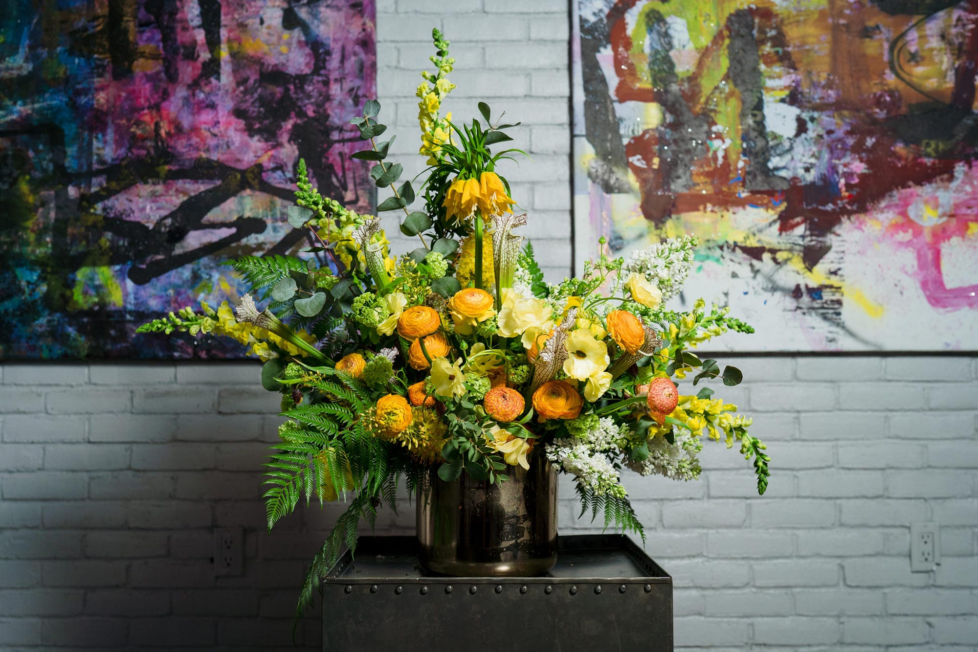 Bright Neon Wedding Inspiration at The Bowery Hotel NYC showing neon yellow floral centerpiece JC Lemon Photography