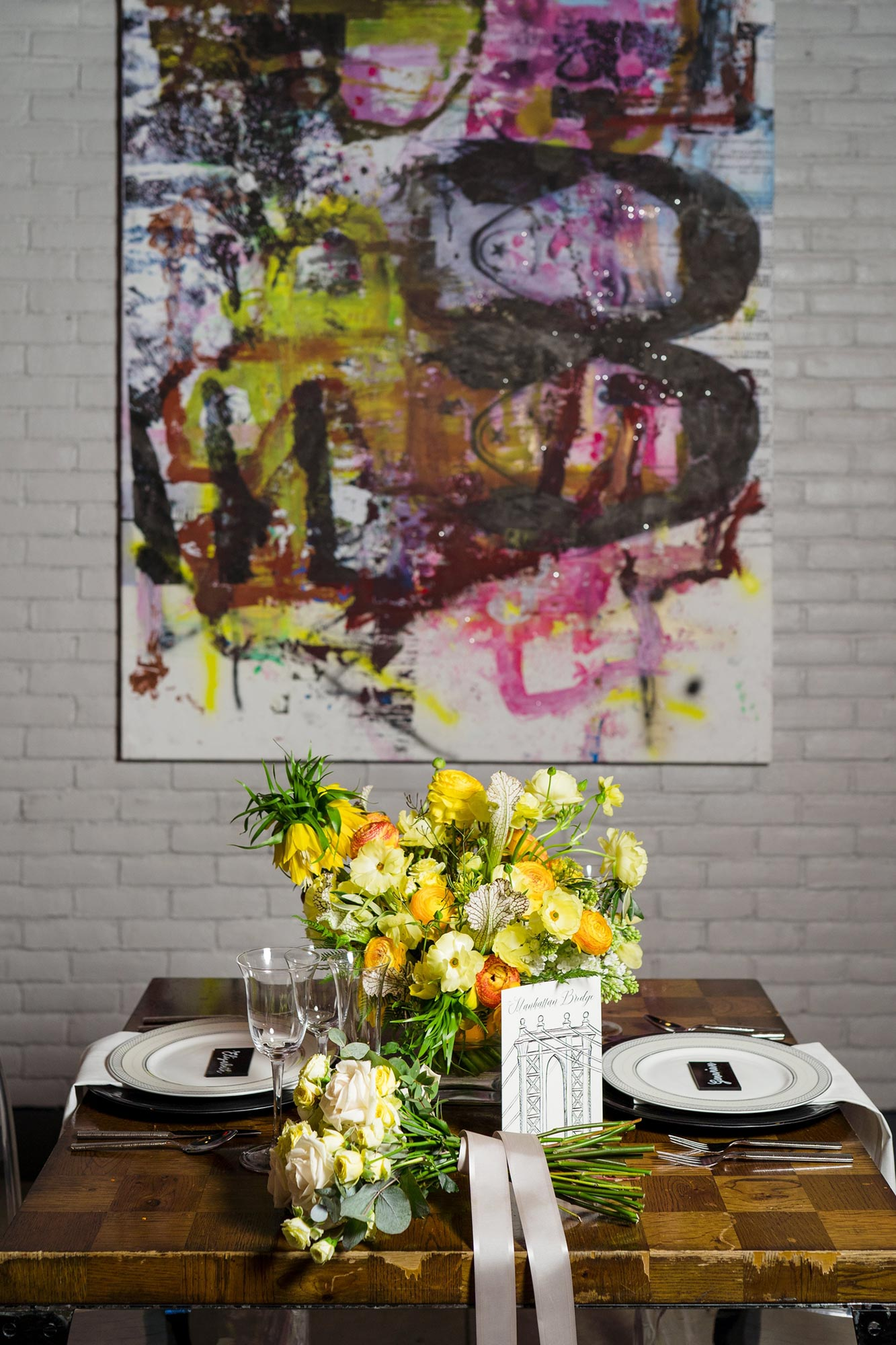 Bright Neon Wedding Inspiration at The Bowery Hotel NYC showing reception table with neon yellow centerpiece JC Lemon Photography