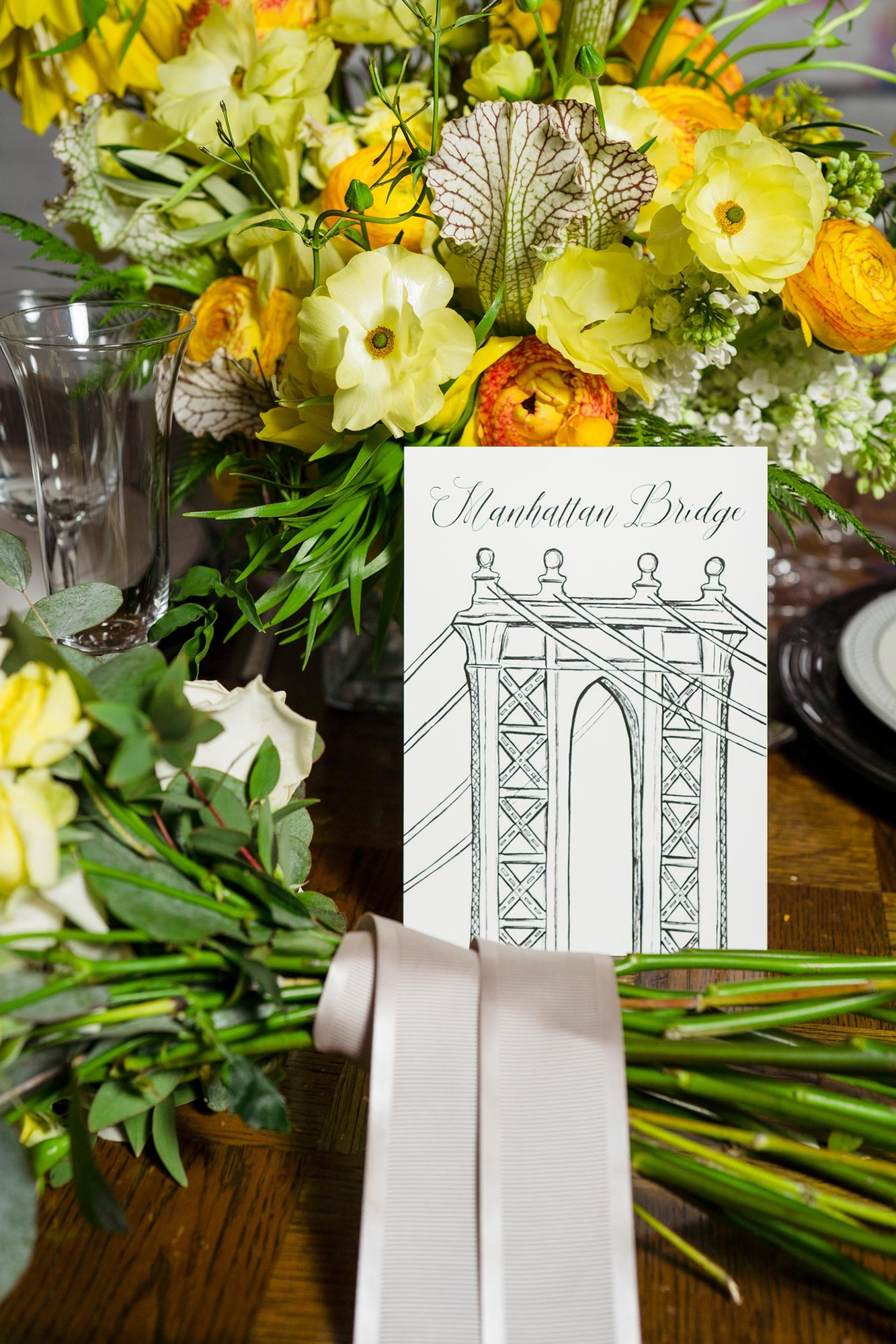 Bright Neon Wedding Inspiration at The Bowery Hotel NYC showing Manhattan Bridge card JC Lemon Photography