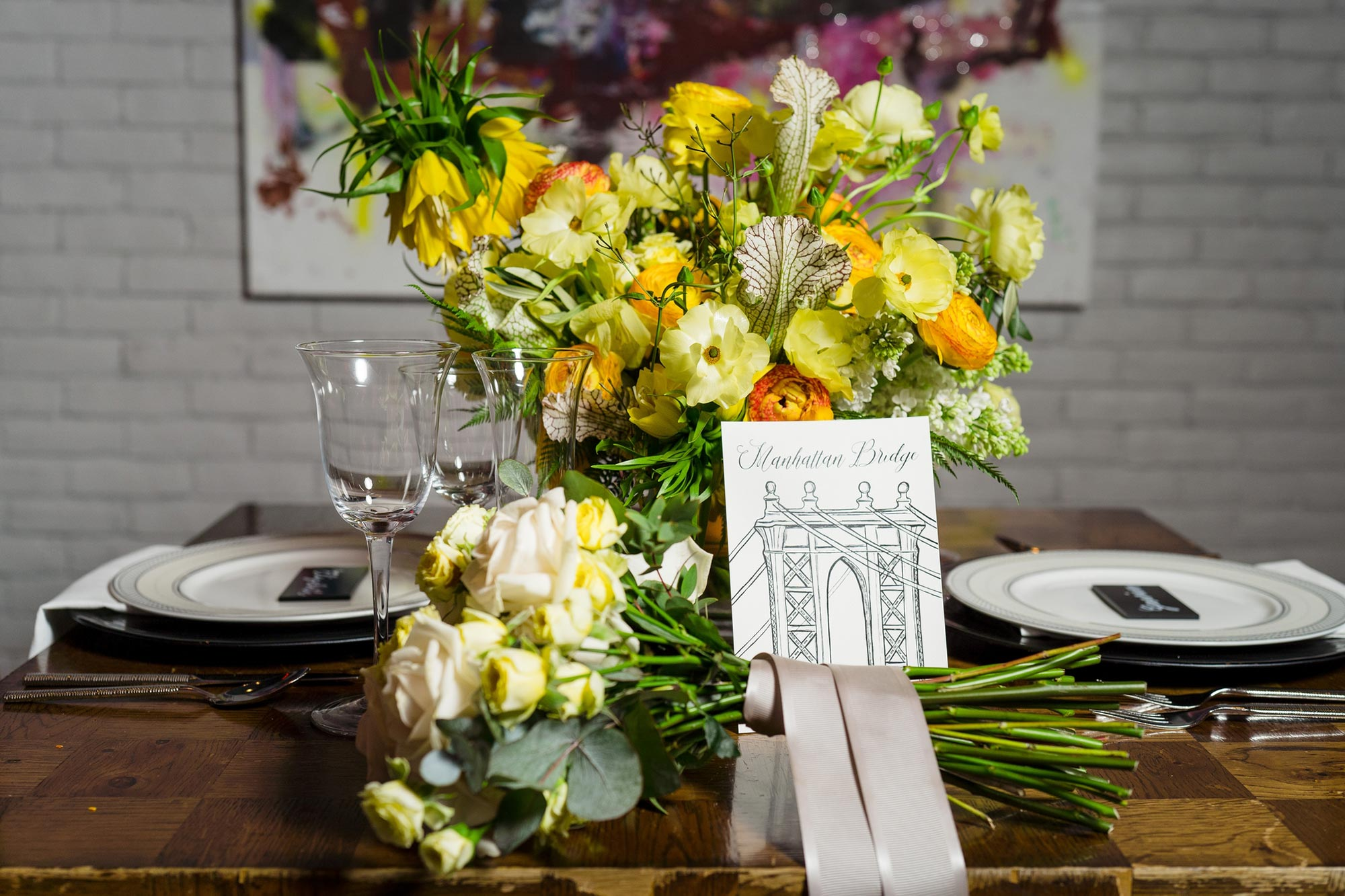 Bright Neon Wedding Inspiration at The Bowery Hotel NYC showing bouquet on reception table JC Lemon Photography
