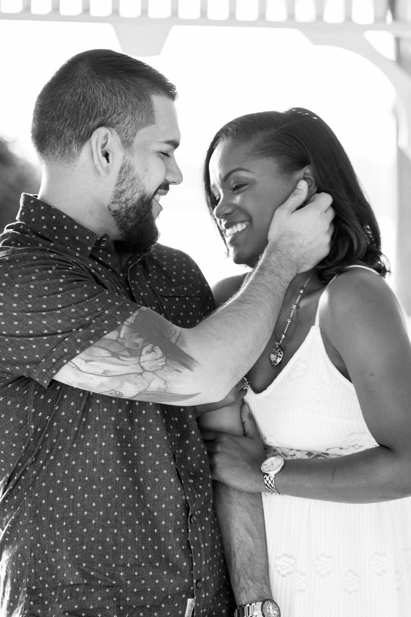 CYPRESS GROVE ENGAGEMENT SESSION CRYSTAL LILY PHOTOGRAPHY SMILING EMBRACE IN GAZEBO