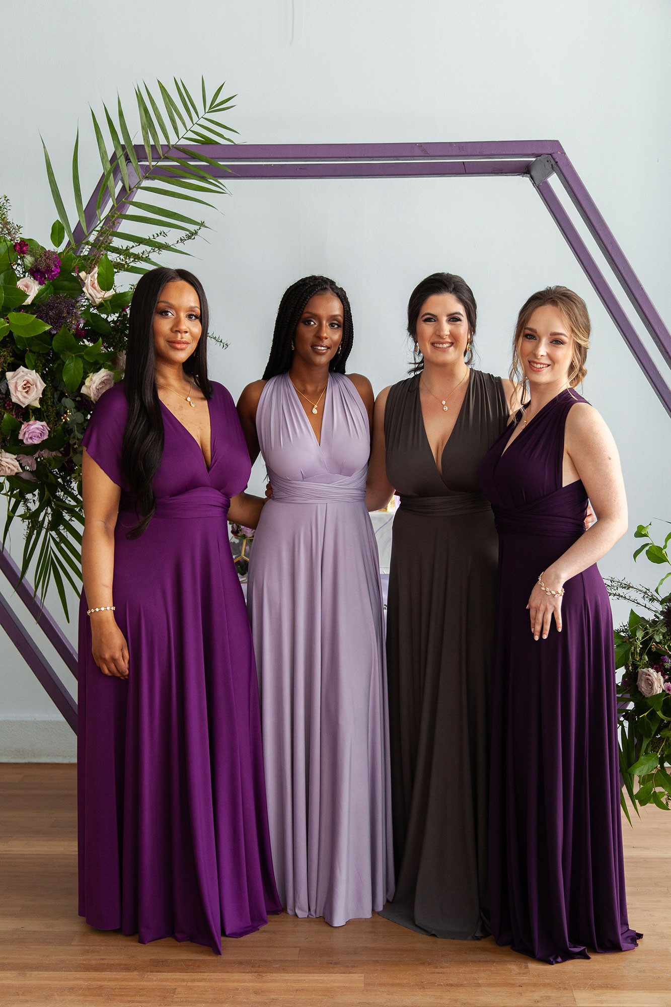 Henkaa fall wedding party dresses in purple and gray tones