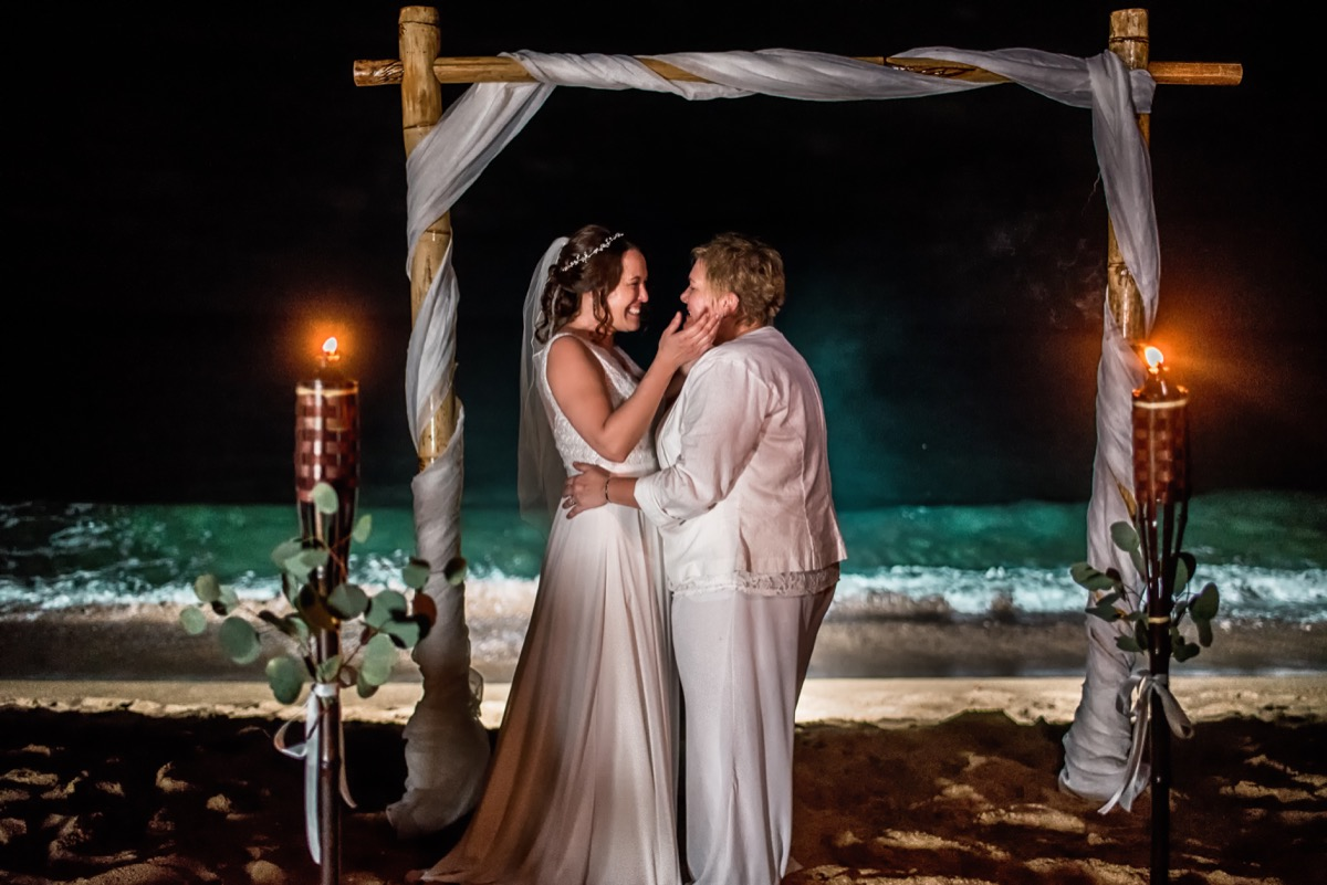 Moonlight ceremony in rincon puerto rico hastain davis photography