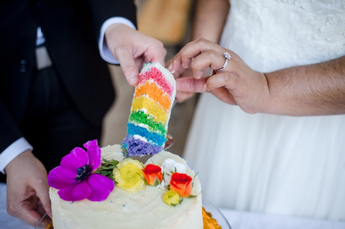 RAINBOW QUEER WEDDING INSPIRATION MICHELLE SCHAPIRO, DEANNA NAGLE, revealing rainbow cake layers