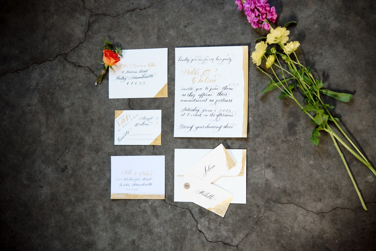 RAINBOW QUEER WEDDING INSPIRATION MICHELLE SCHAPIRO, DEANNA NAGLE, stationery collection with flowers
