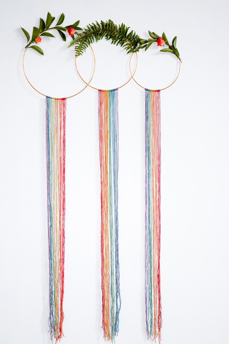 RAINBOW QUEER WEDDING INSPIRATION MICHELLE SCHAPIRO, DEANNA NAGLE, hoops with rainbow string