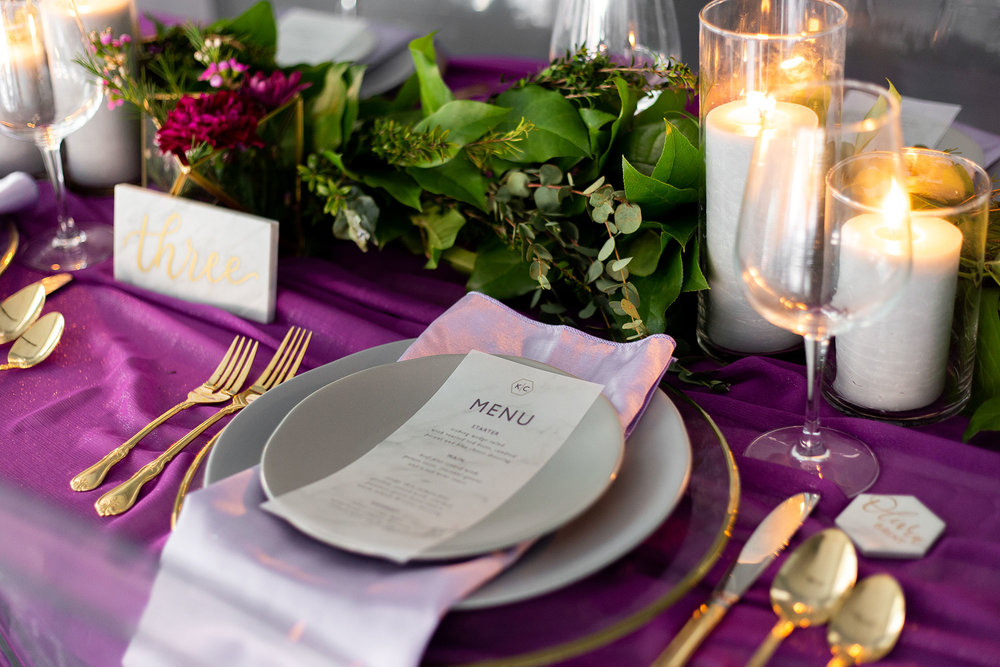 Henkaa fall wedding collection with purple table setting