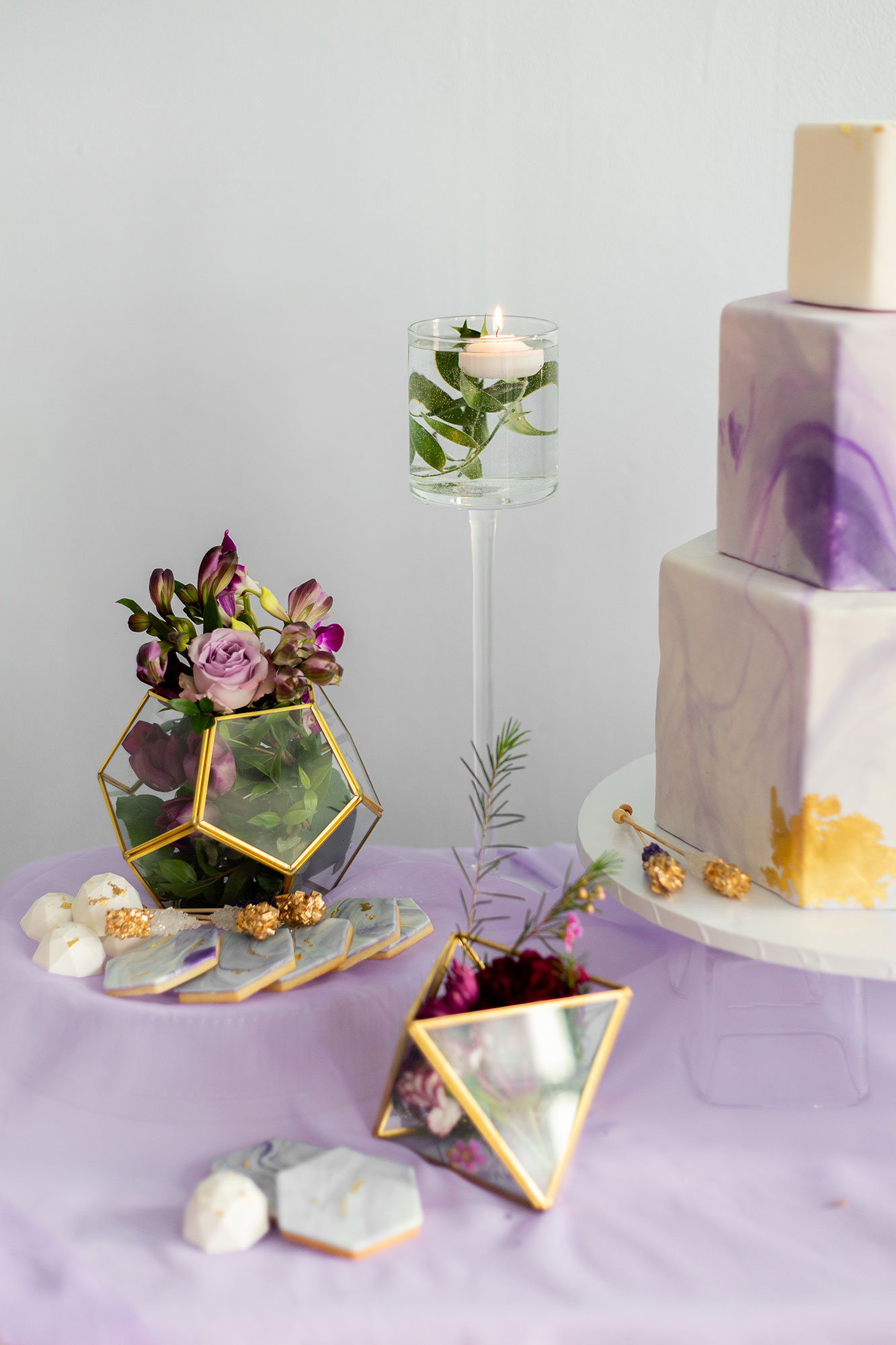 Henkaa fall wedding collection with geometric terrariums