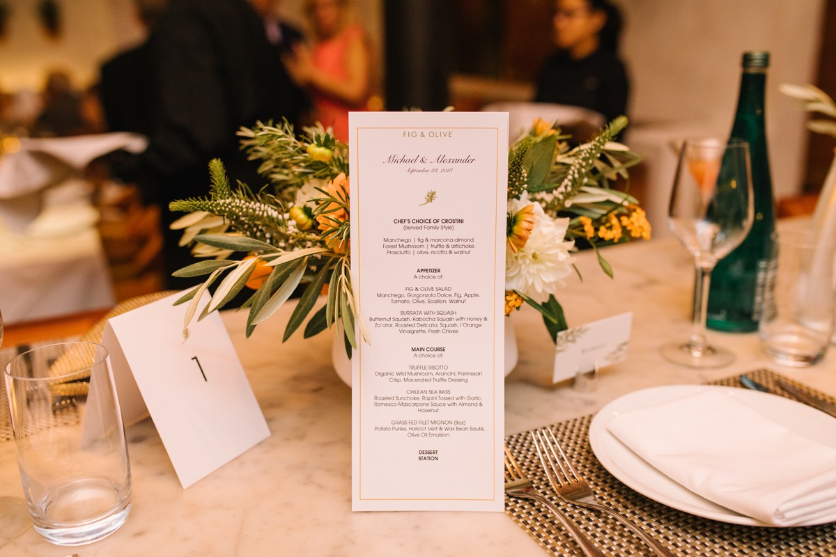 modern mediterranean wedding meatpacking district new york city rima brindamour photography table with menu