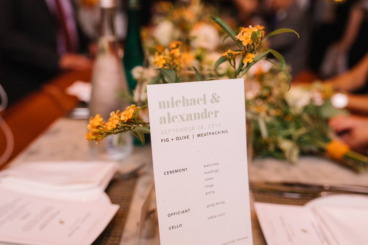 modern mediterranean wedding meatpacking district new york city rima brindamour photography table with itinerary