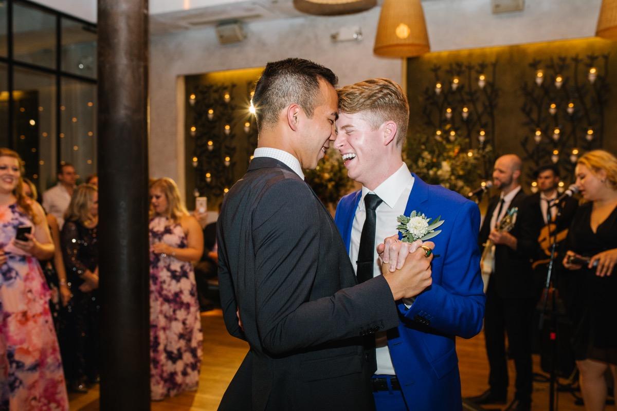 modern mediterranean wedding meatpacking district new york city rima brindamour photography grooms' first dance