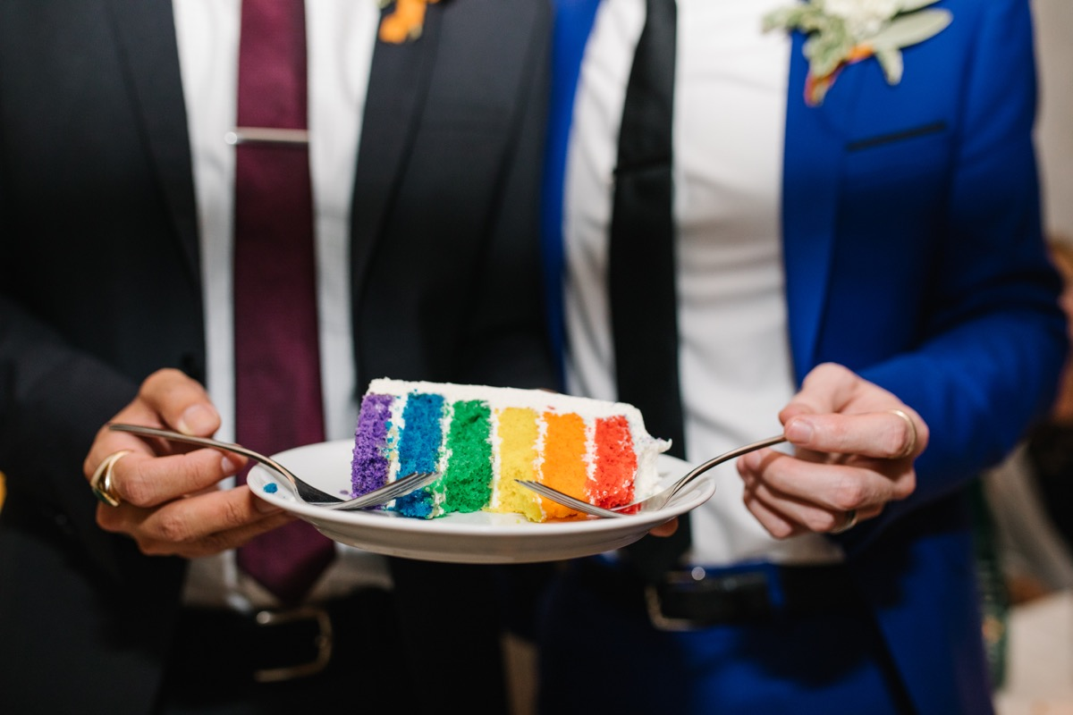 modern mediterranean wedding meatpacking district new york city rima brindamour photography six-layered rainbow cake