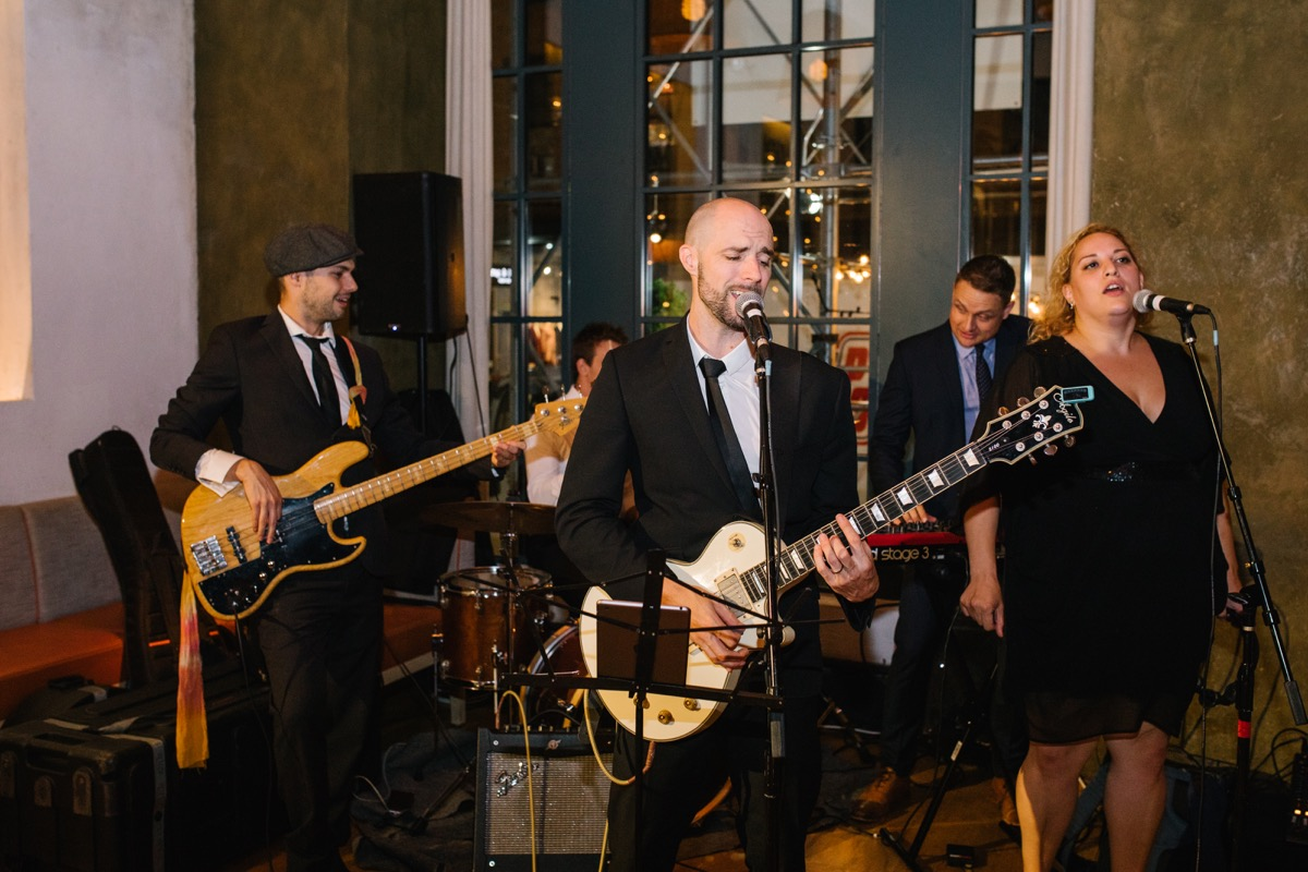 modern mediterranean wedding meatpacking district new york city rima brindamour photography silver arrow band performing