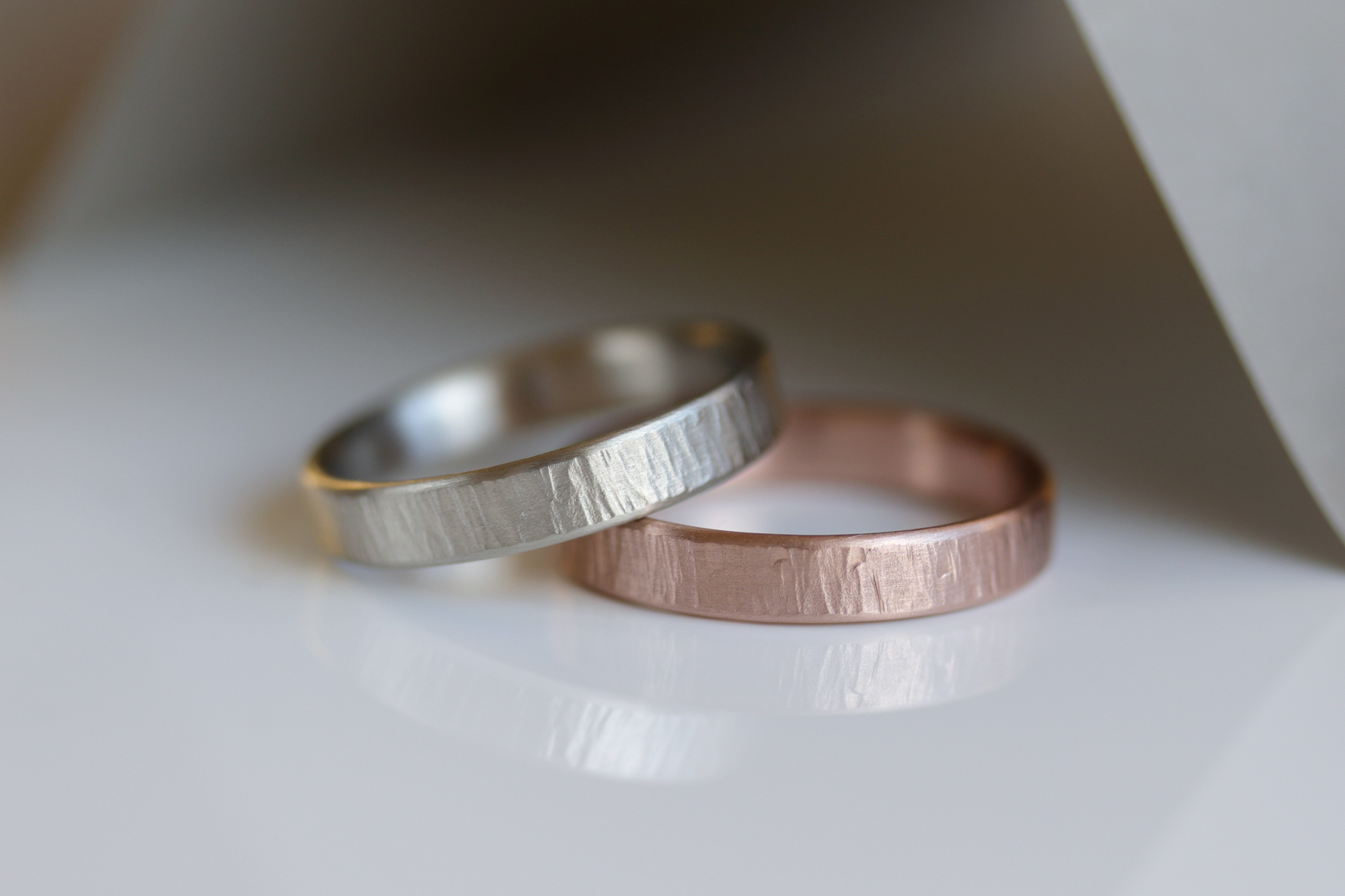 Wood Textured Wedding Bands by Aide-Memoire Jewelry