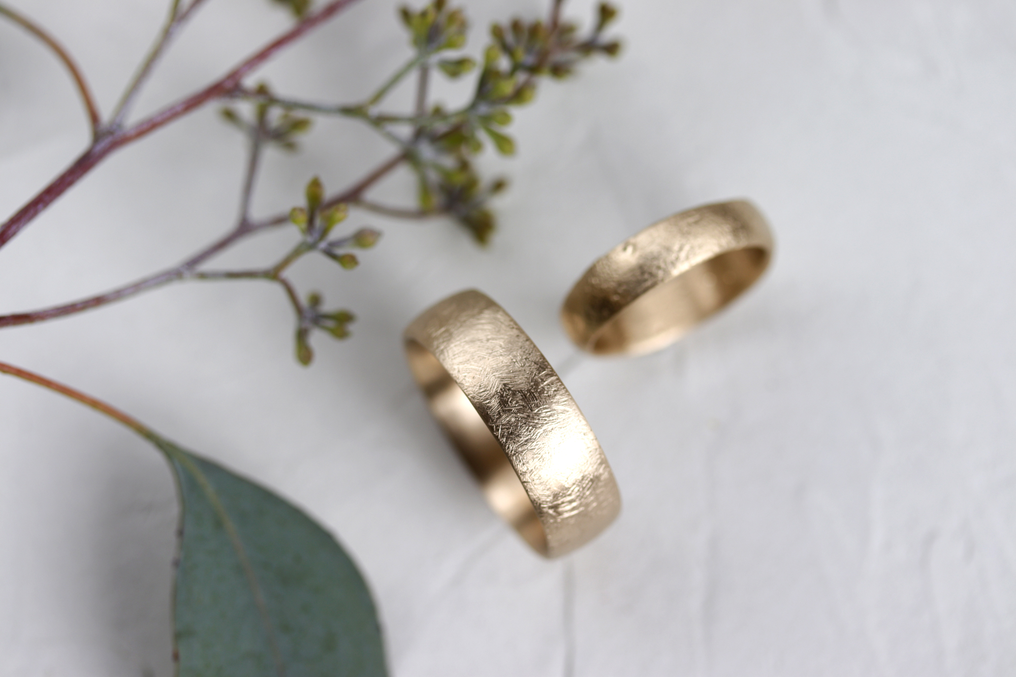 Rustic Textured Gold Wedding Bands by Aide-Memoire Jewelry