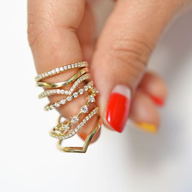 Stacked Ethical Diamond Rings by Valerie Madison Jewelry