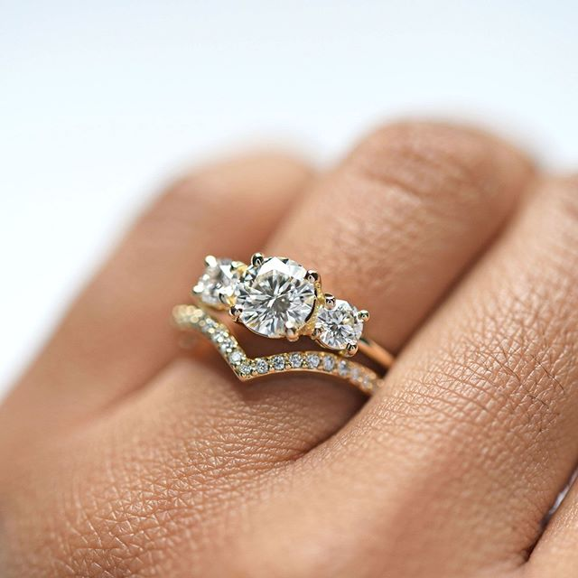 Stacked Engagement Ring by Valerie Madison Jewelry