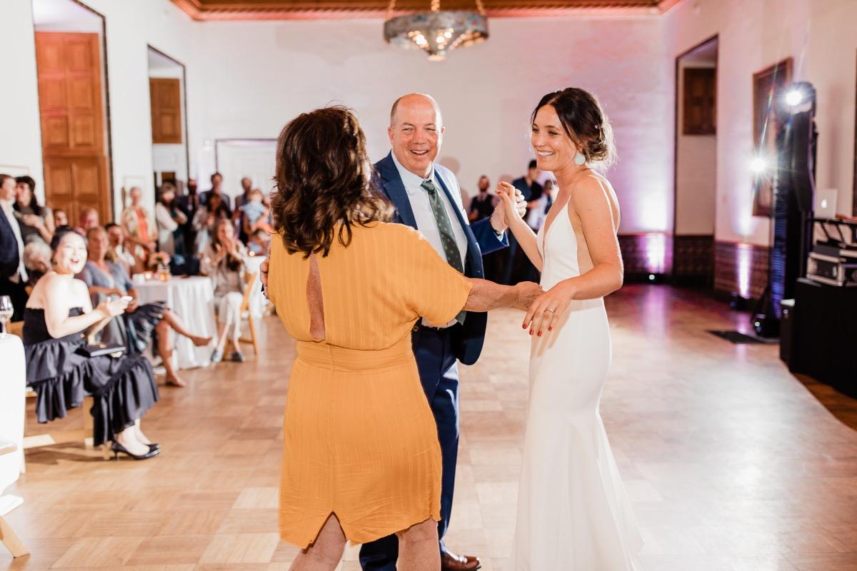 lAVENDER FARM WEDDING ALBUQUERQUE NEW MEXICO ALICIA LUCIA PHOTOGRAPHY CARA AND PARENTS ON DANCE FLOOR
