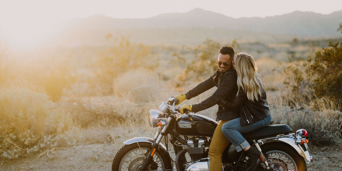 palm springs motorcycle session let's frolic together photography couple on motorcycle in desert